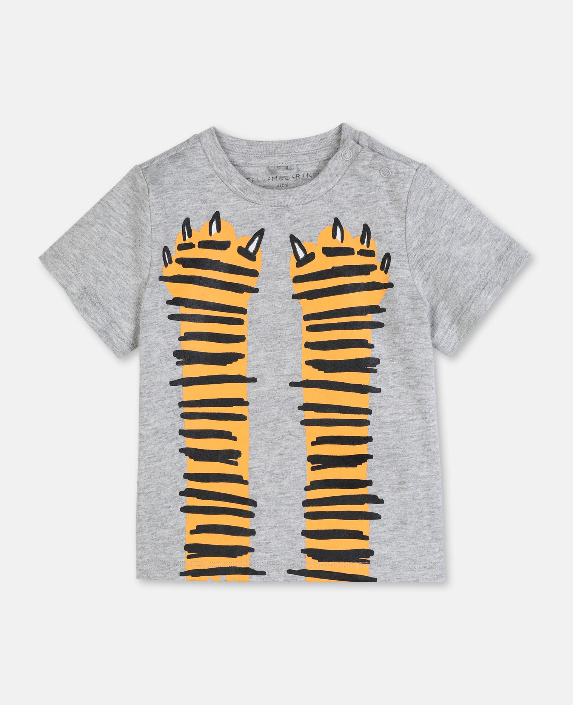 T-shirt en coton à motif pattes -Gris-large image number 0