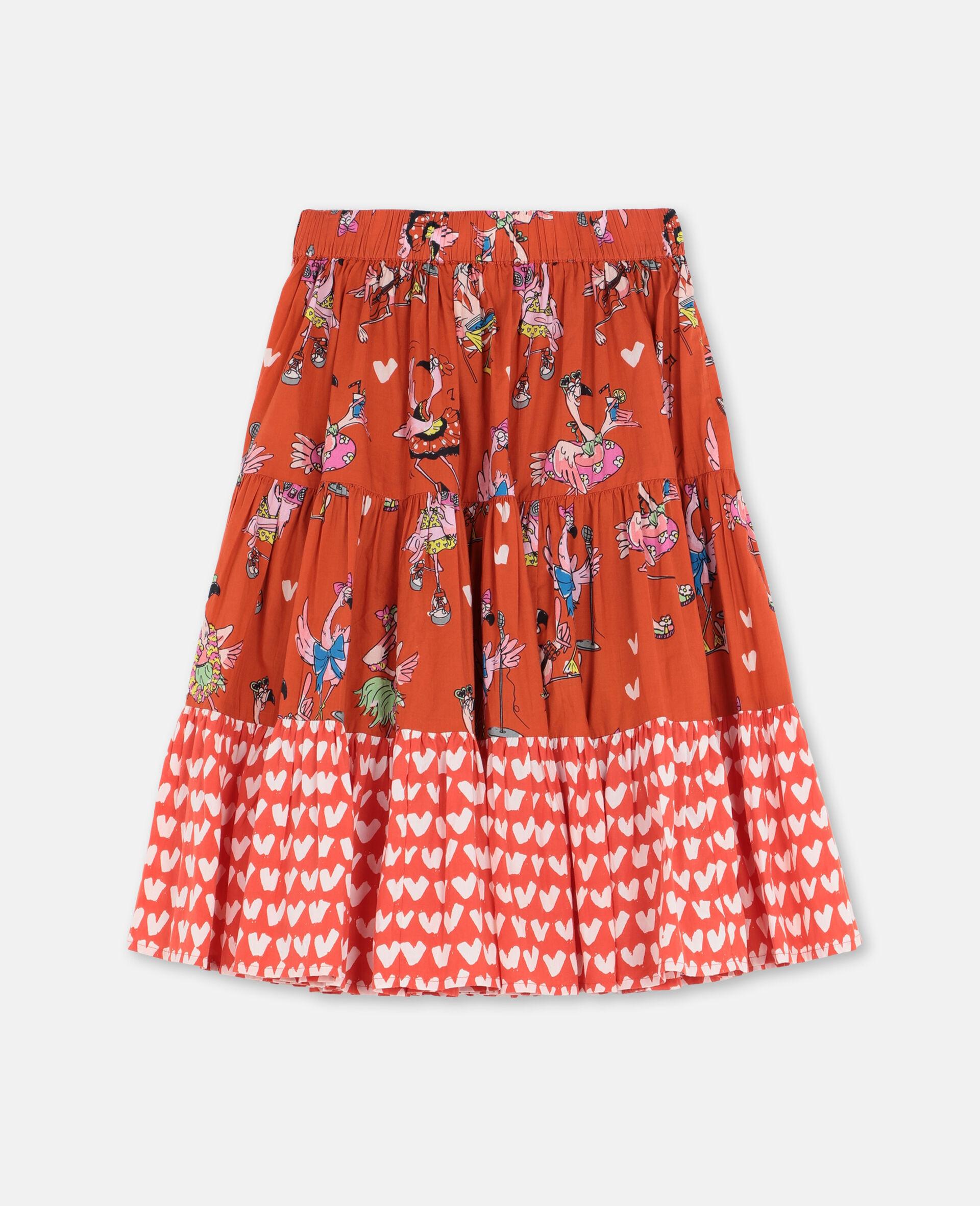 Jupe en coton avec flamants roses festifs -Rouge-large image number 3
