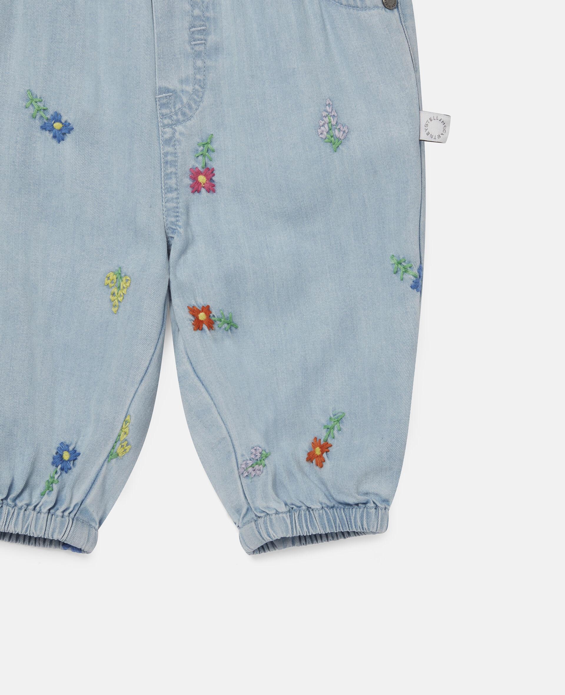 Jeans in Denim con Fiori Ricamati-Blu-large image number 1