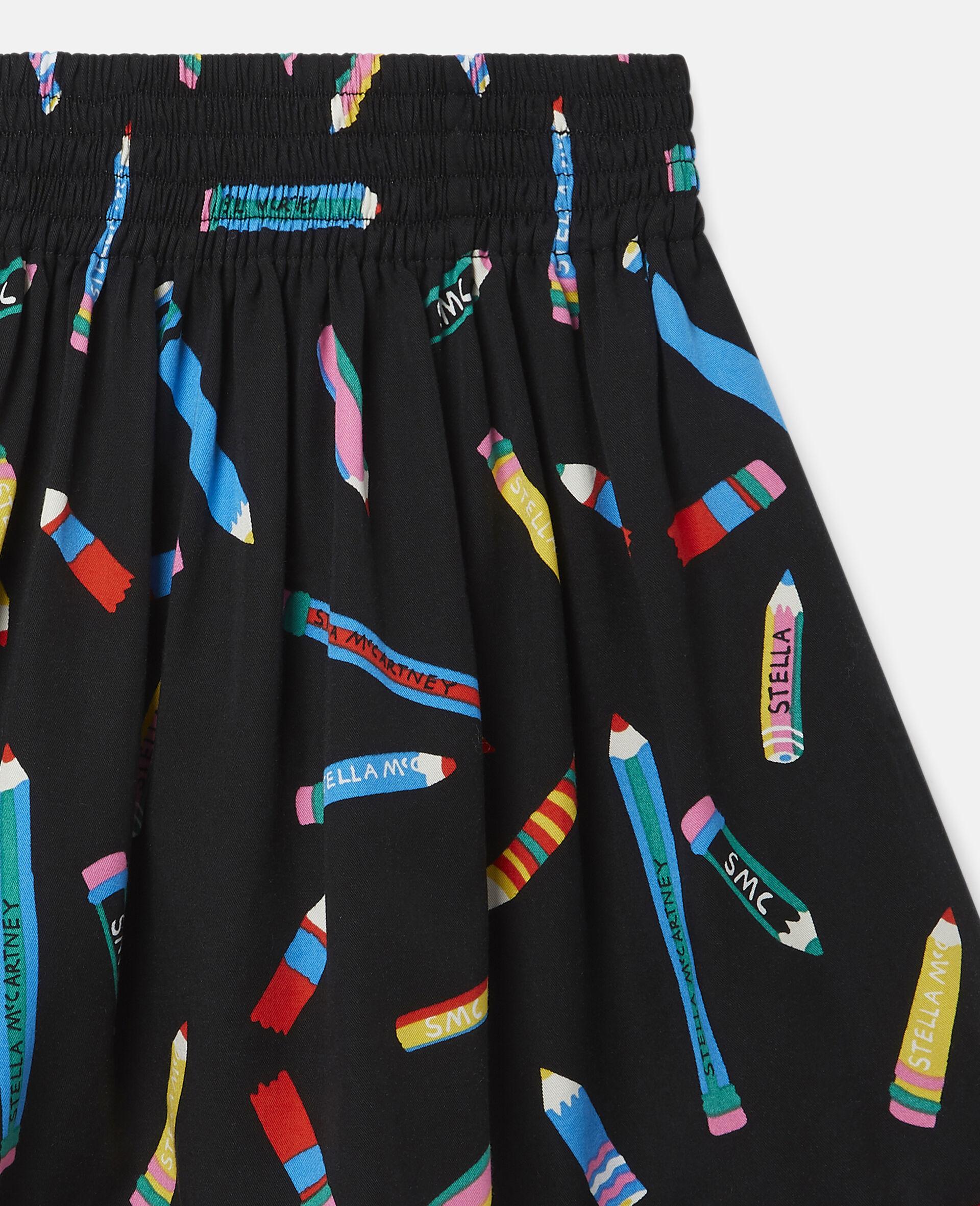 铅笔印花斜纹布半身裙 -黑色-large image number 1