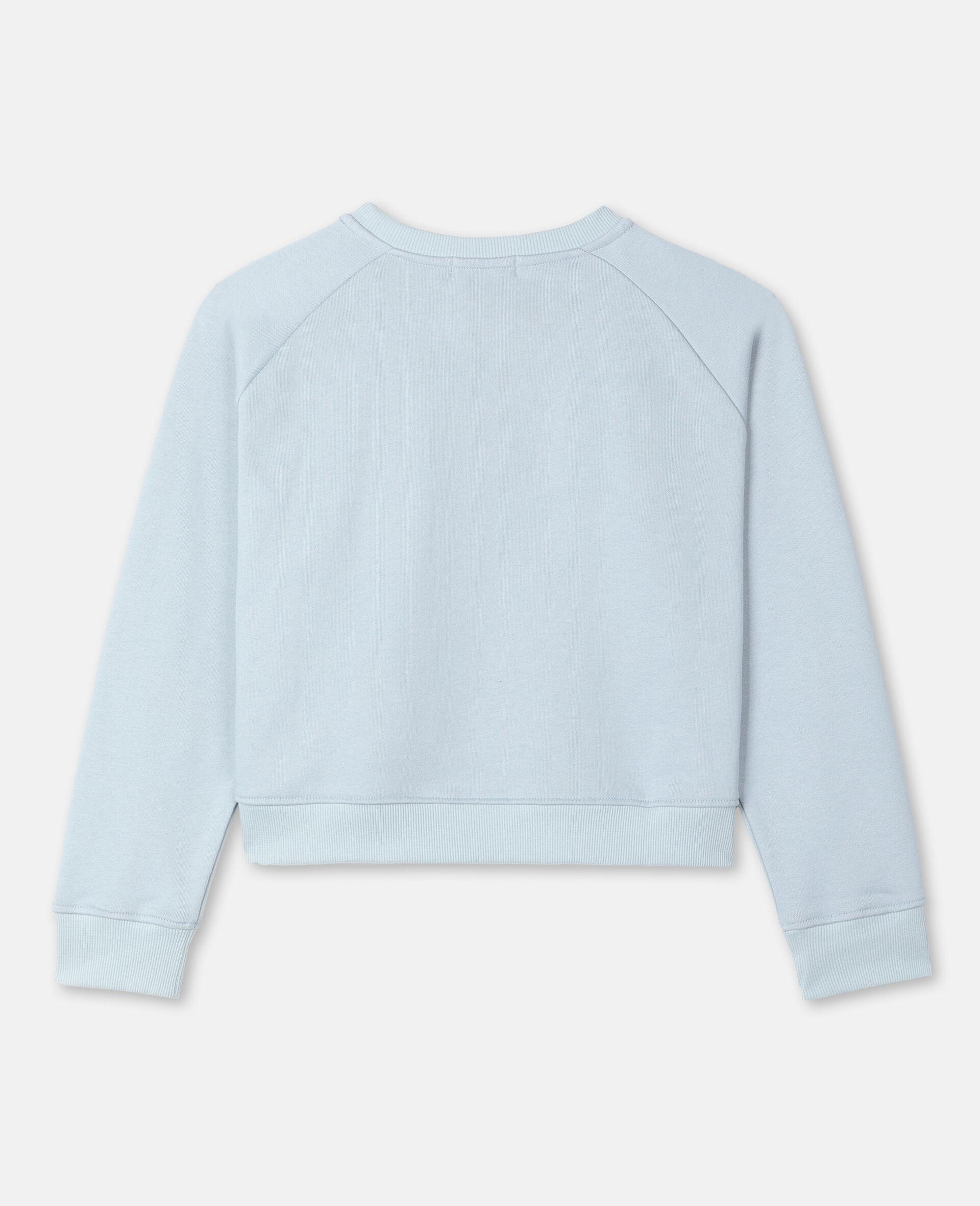 Sweat-shirt en molleton motif flamant rose effet peint -Bleu-large image number 3