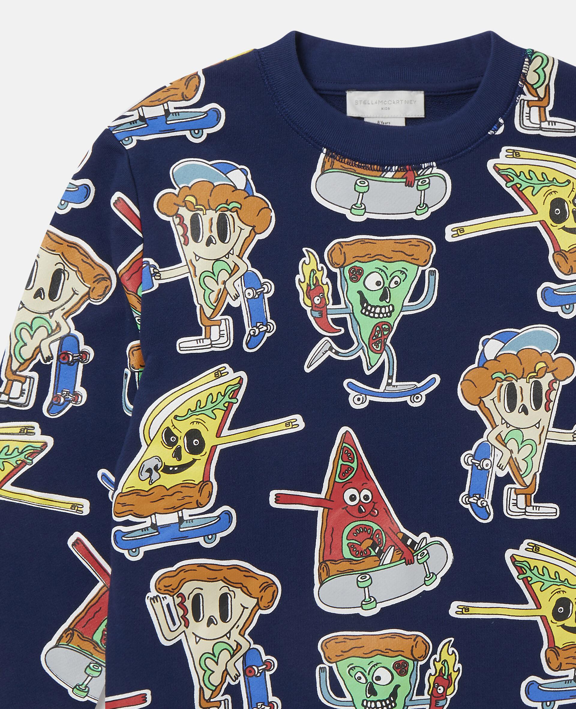 Fleece-Sweatshirt mit Pizza-Skater-Motiv-Blau-large image number 1