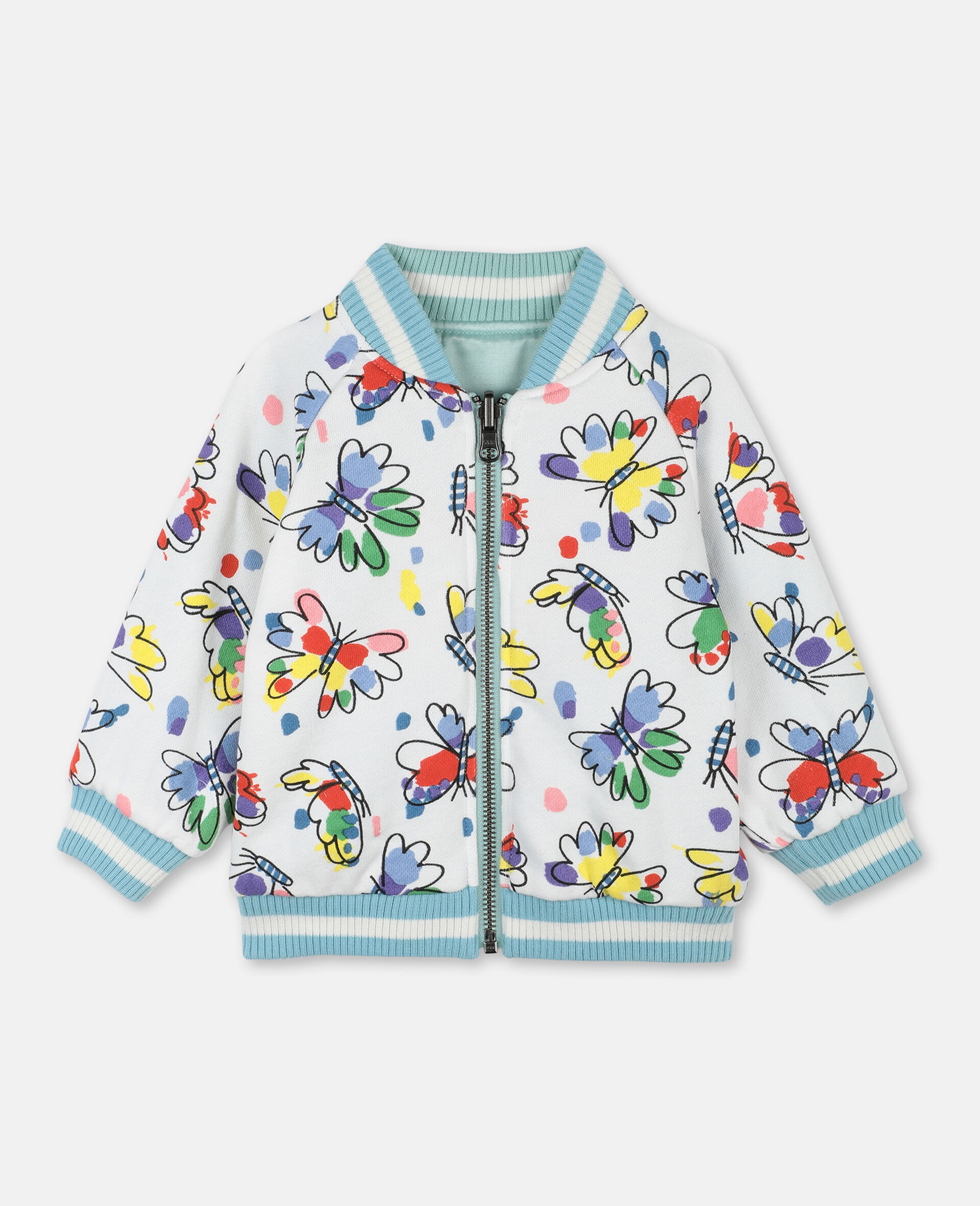 Butterfly Satin Bomber -Green-large image number 1