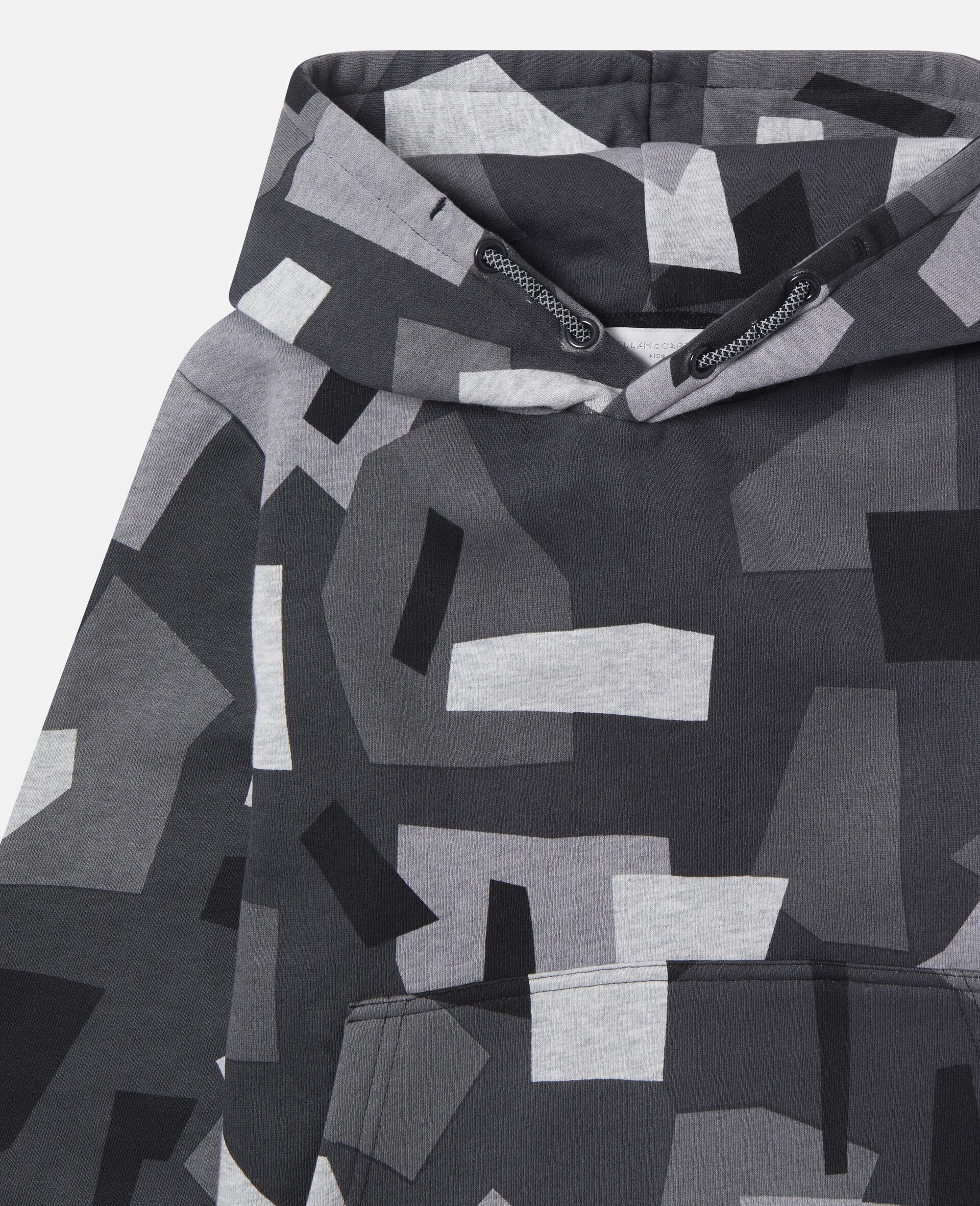 Übergroßer Kapuzenpullover aus Fleece mit geometrischem Print-Bunt-large image number 0