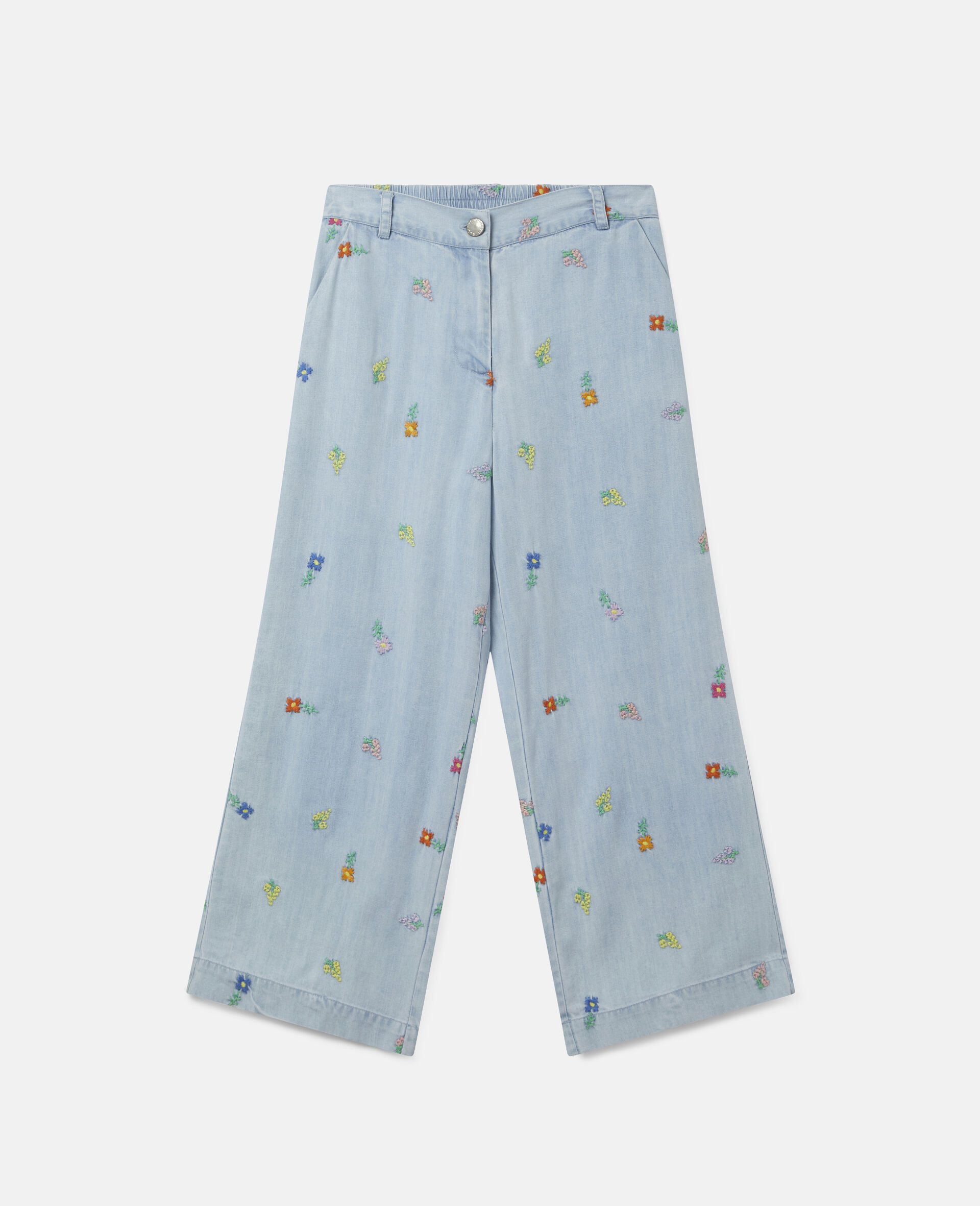 Embroidered Flowers Denim Trousers-Blue-large image number 0