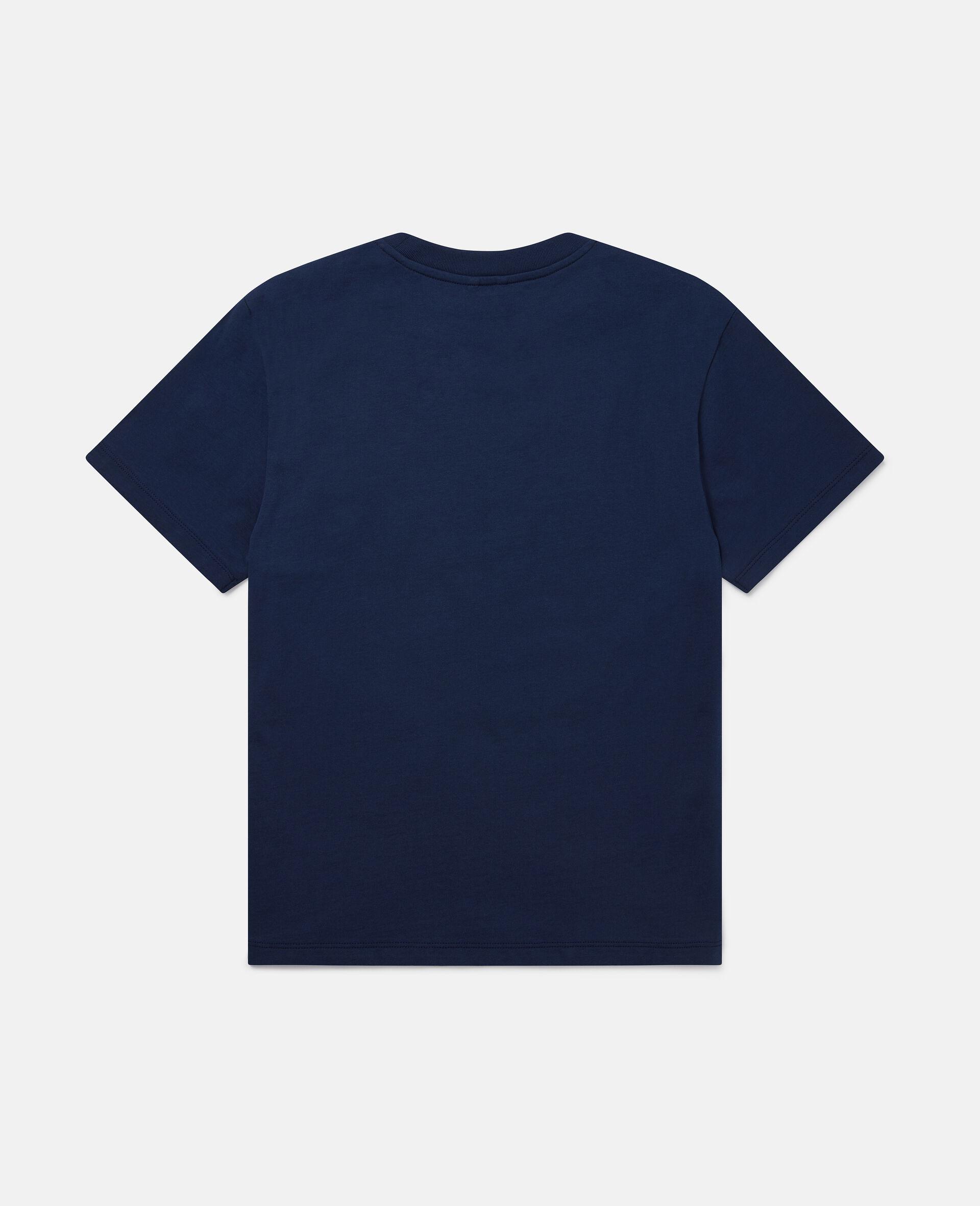 Übergroßes T-Shirt mit Pizza-Skater-Motiv-Blau-large image number 3