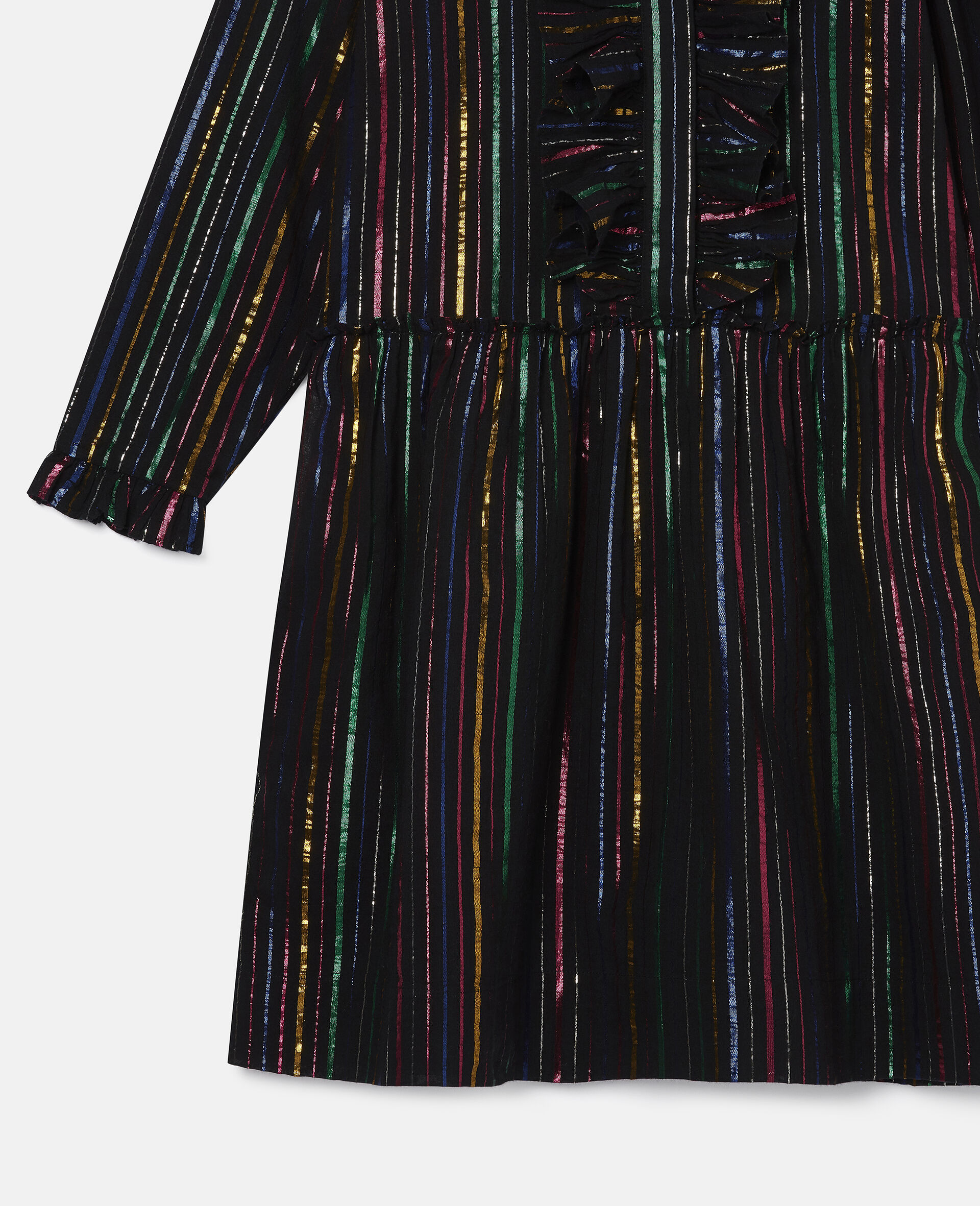 Kleid aus Baumwolle mit Lurex-Streifen in Regenbogenfarben-Schwarz-large image number 1