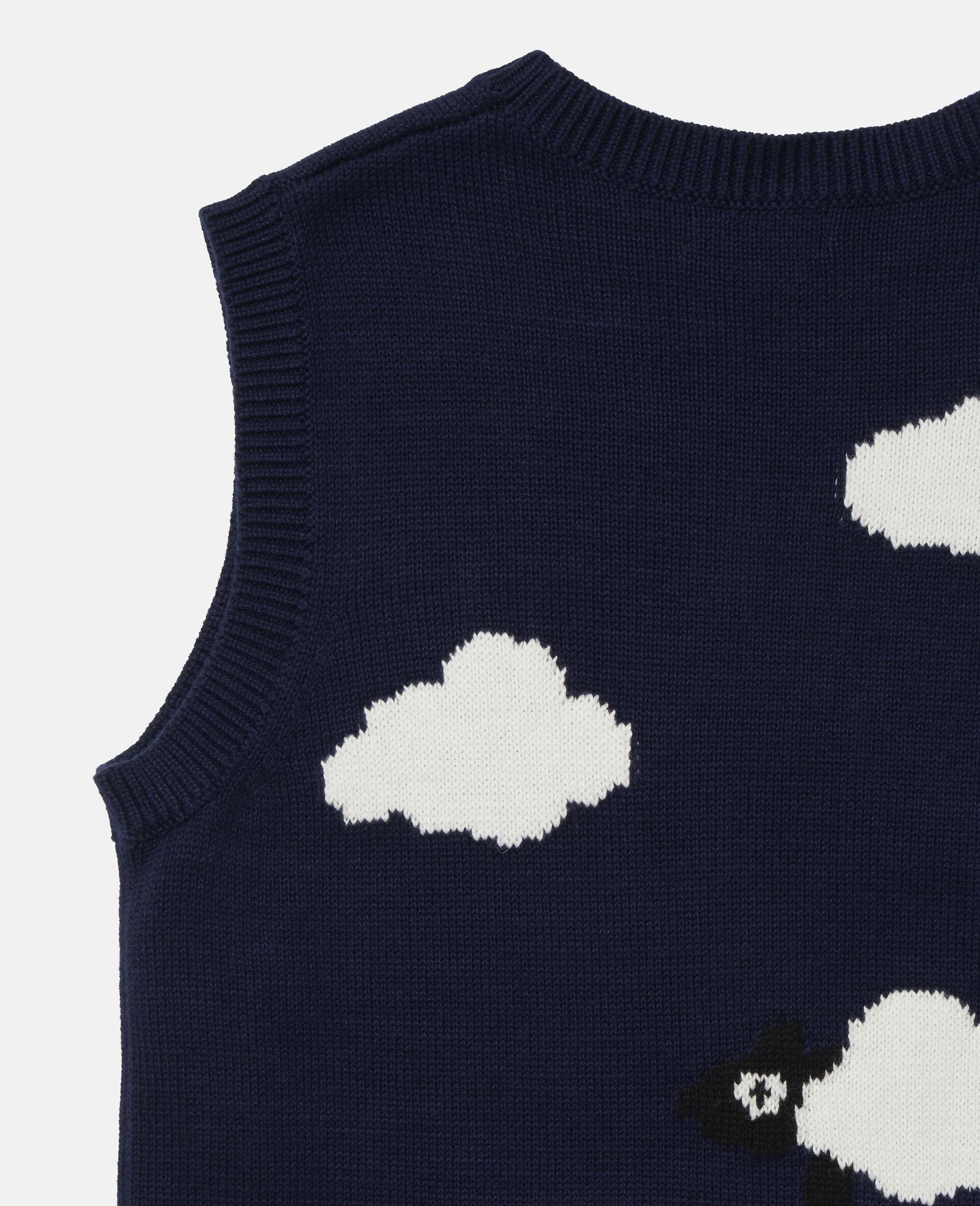Garden Knit Intarsia Gilet -Blue-large image number 2