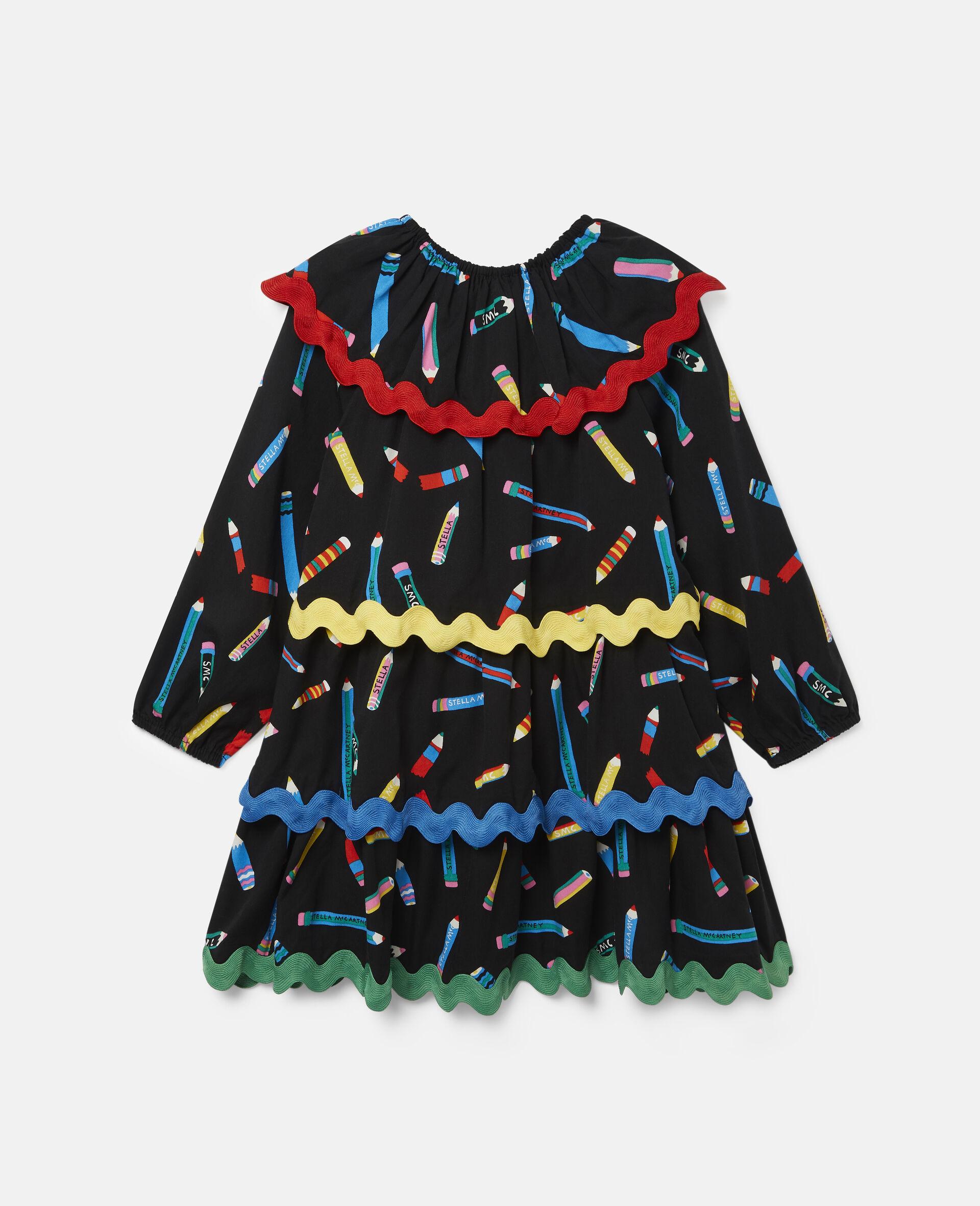 铅笔印花分层斜纹布连衣裙 -黑色-large image number 3