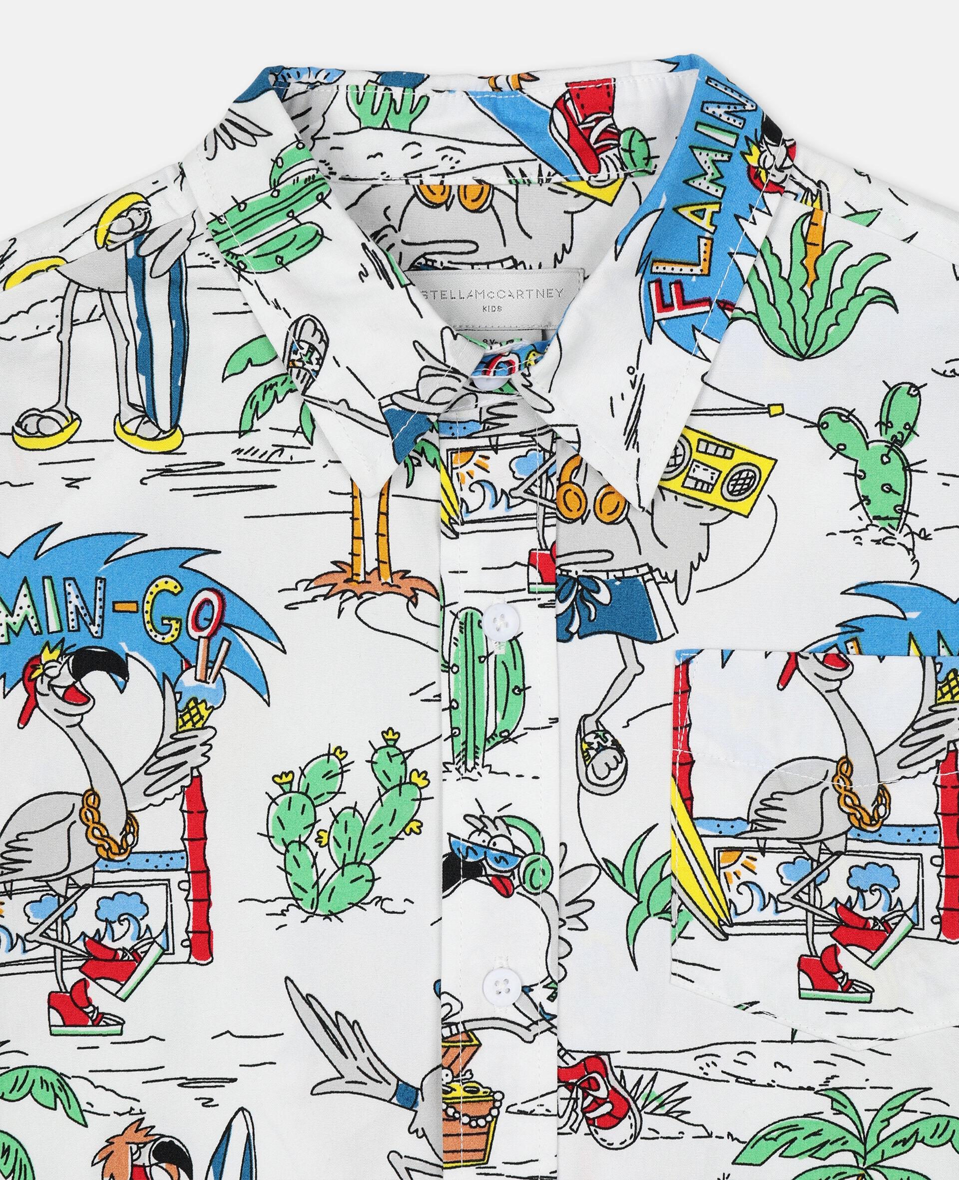 Oversize Flamingo Land Cotton Shirt -Multicolour-large image number 2
