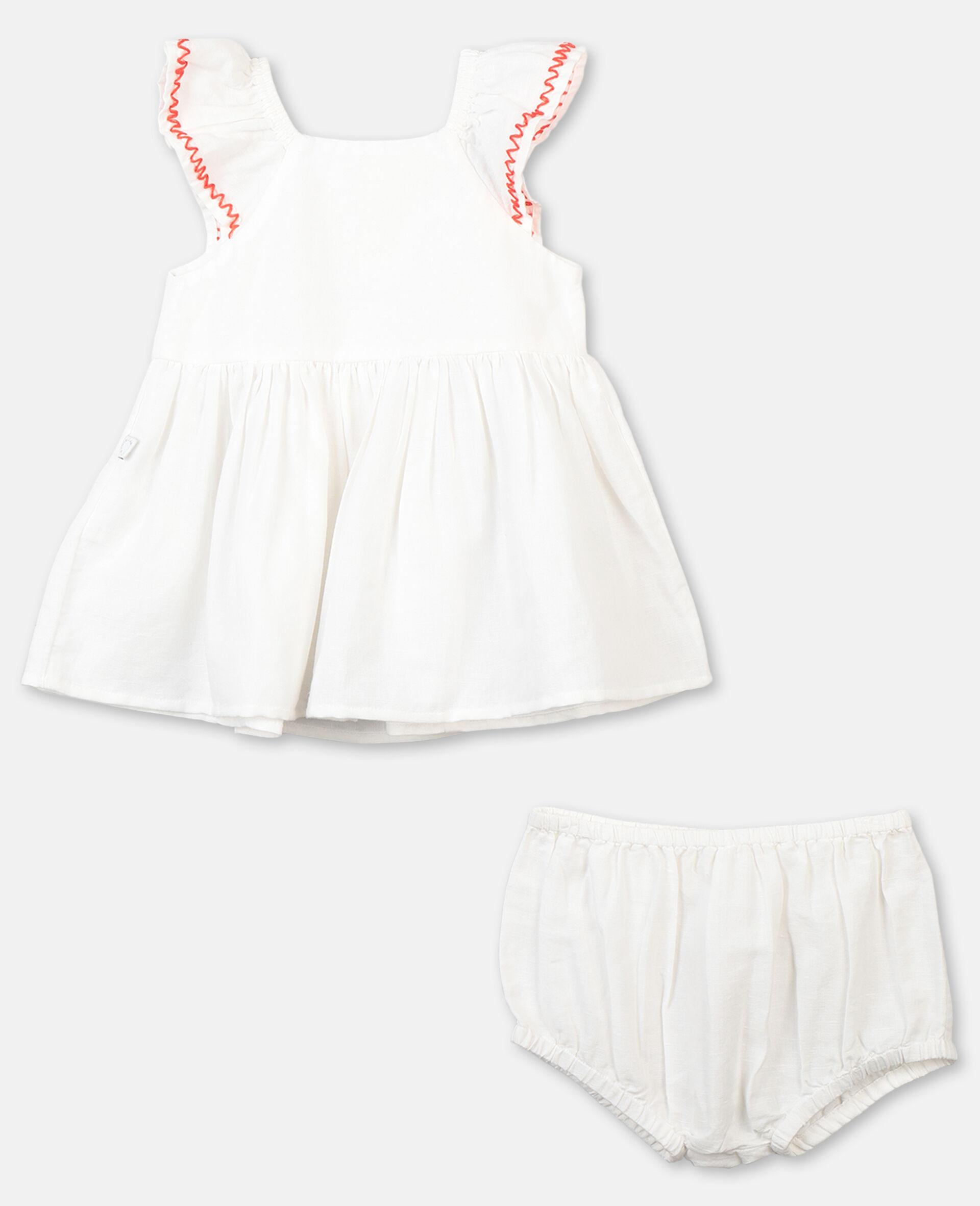 Smock Detail Dress-White-large image number 3
