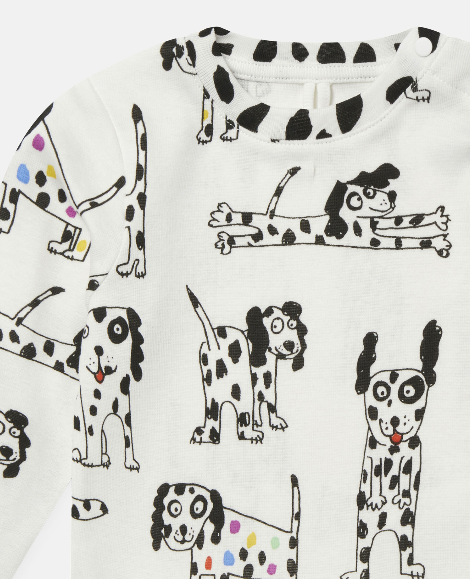 """Oberteil aus geripptem Jersey mit """"Doodle Dalmatians""""-Motiv-Weiß-large image number 1"""