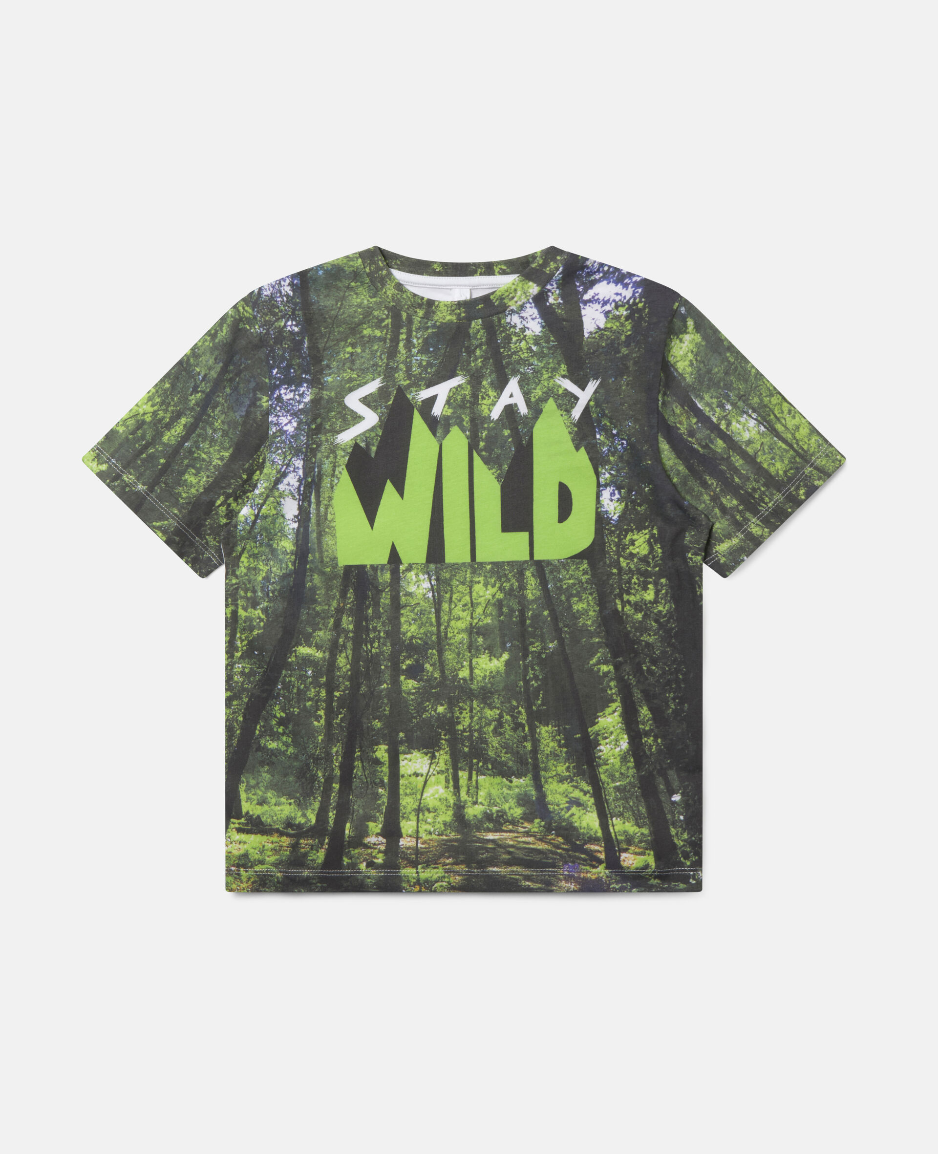 'Stay Wild' Forest Cotton T-shirt-Multicolour-large image number 0