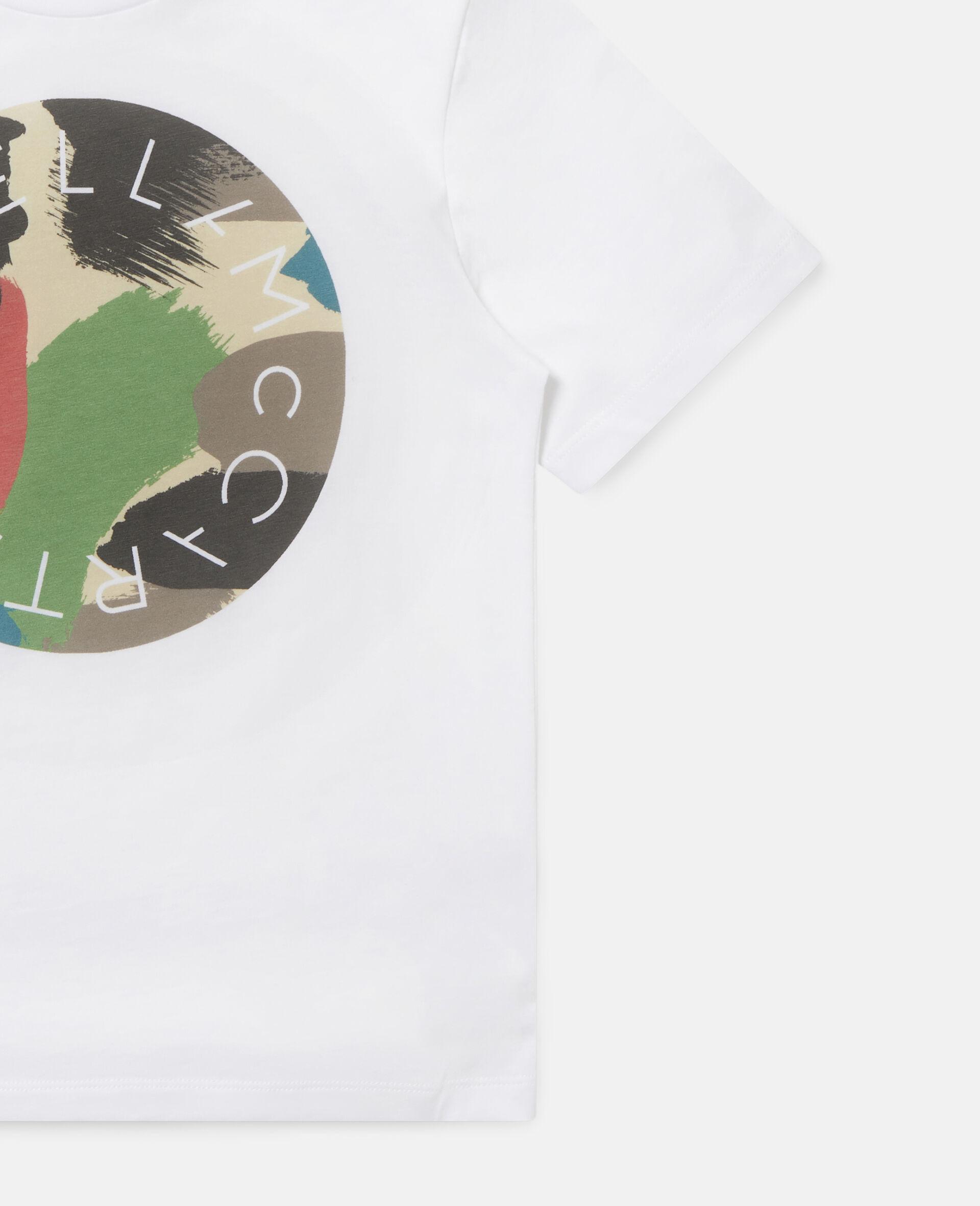 T-shirt en coton à logo camouflage -Blanc-large image number 1