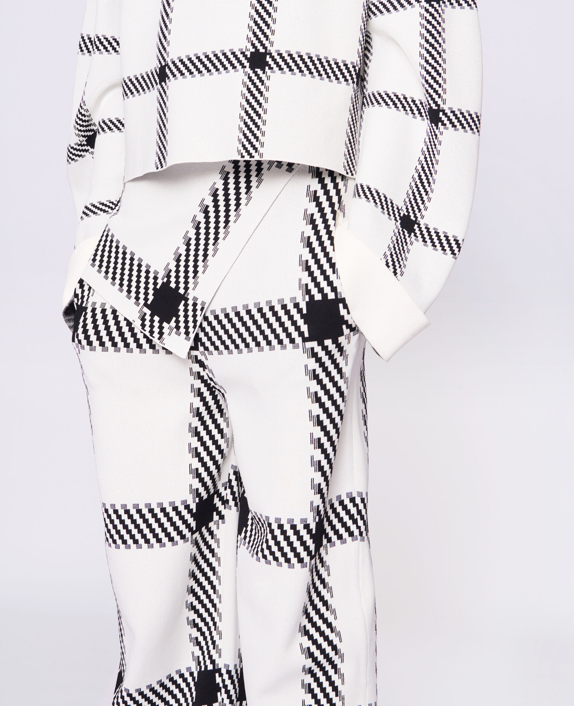 Knit Check Pants-White-large image number 3