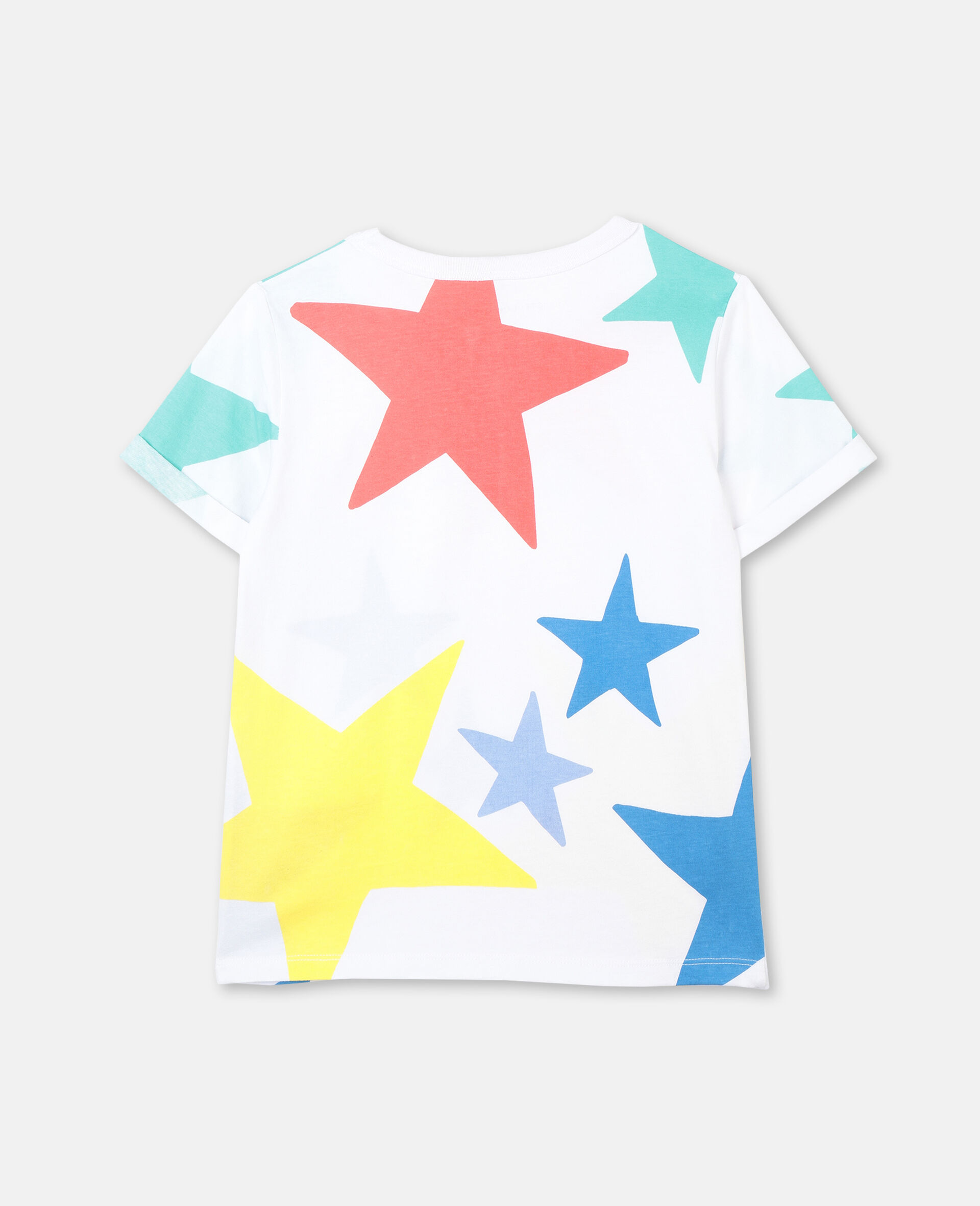 Multicolour Stars Cotton T-shirt-White-large image number 3