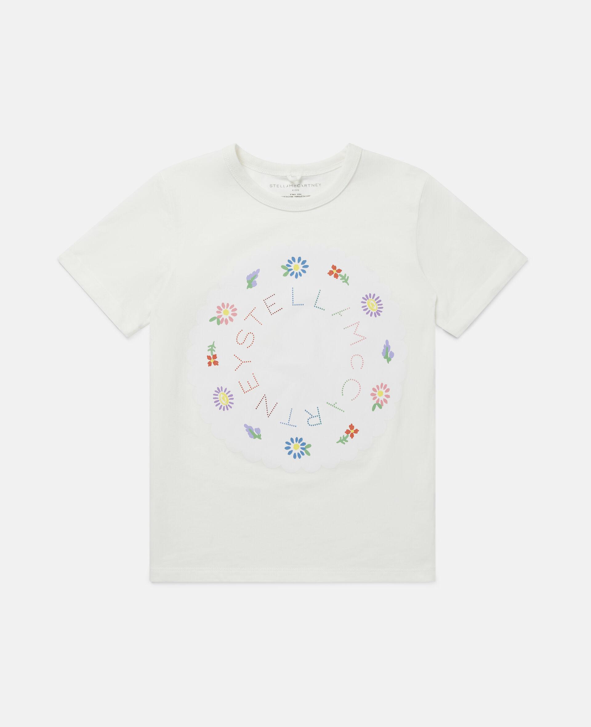 T-shirt con Logo e Fiori-Bianco-large image number 0