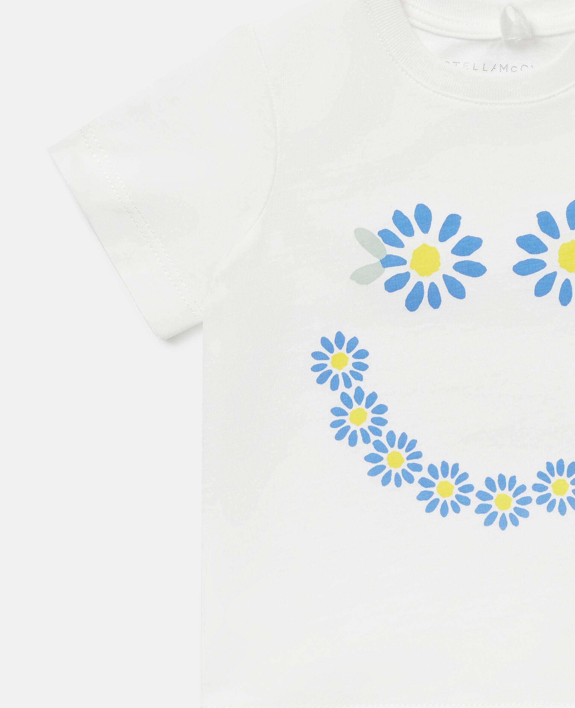 Baumwoll-T-Shirt mit Gänseblümchensmiley-Weiß-large image number 2