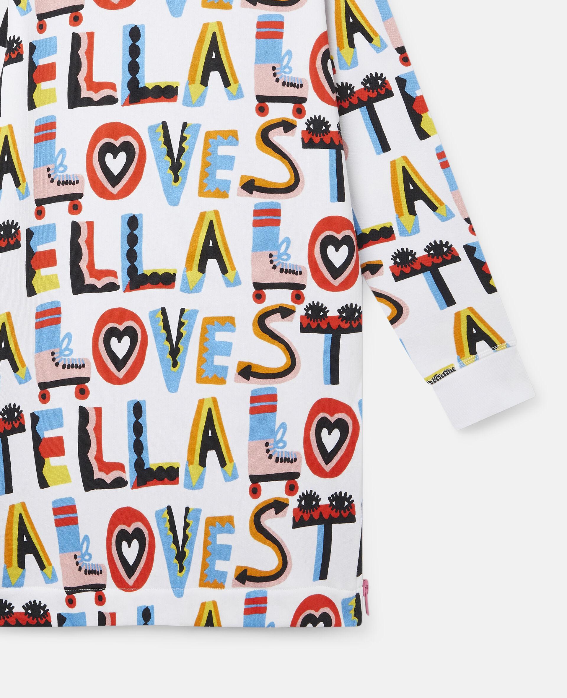 Kleid aus Baumwollfleece mit Stella Loves-Print-Weiß-large image number 2