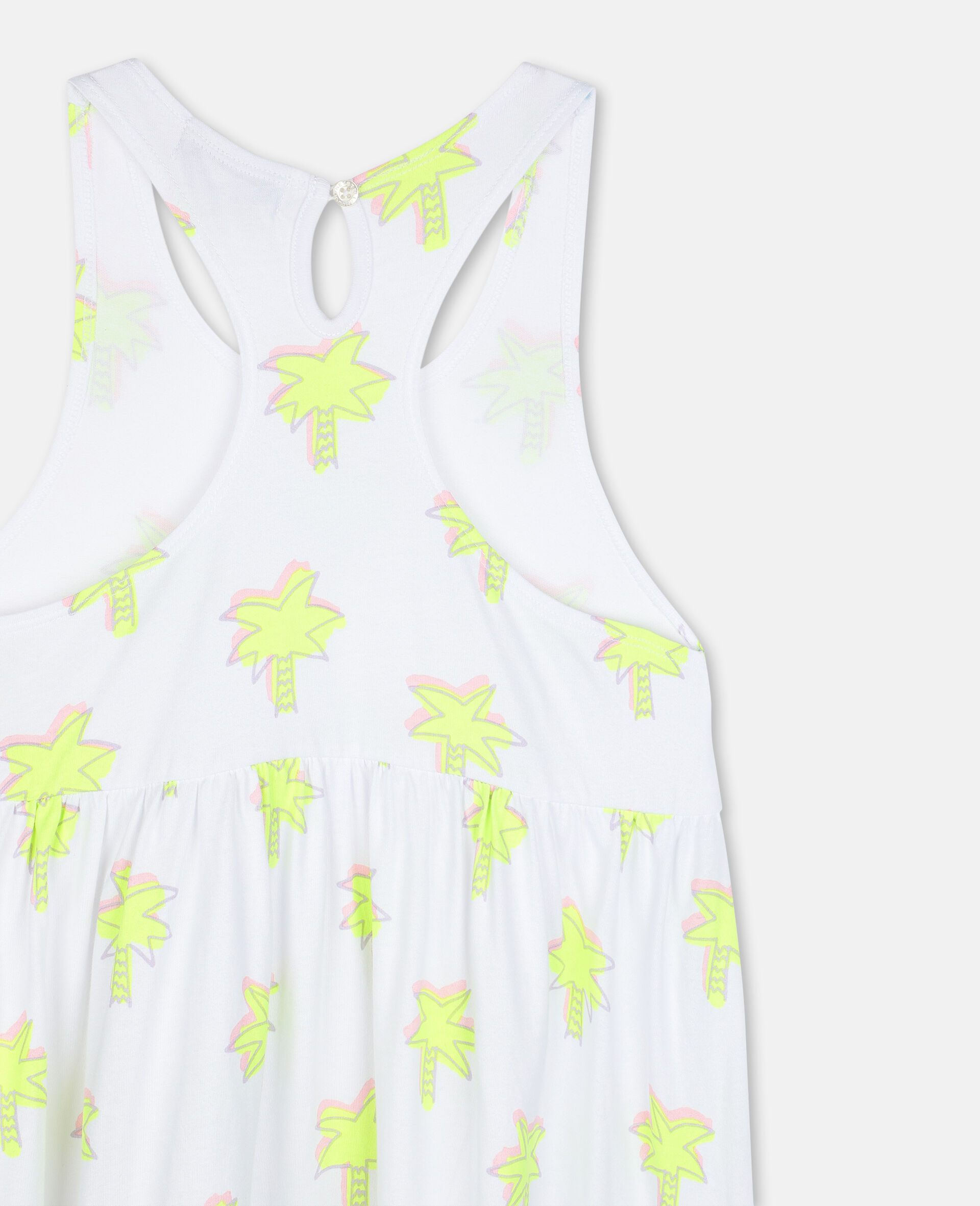 Doodle Palm Cotton Dress-White-large image number 2