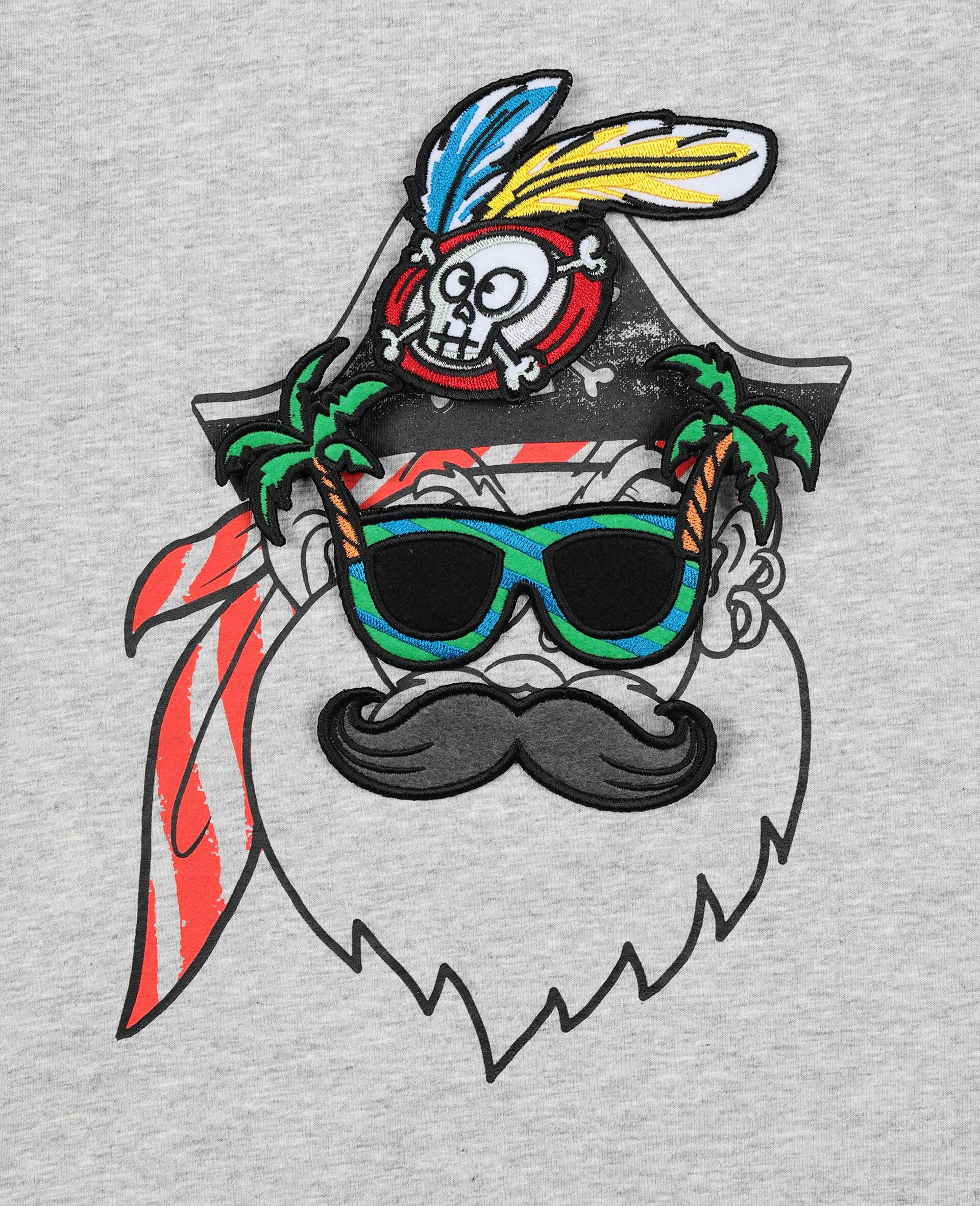 Funny Pirate Face T-shirt -Grey-large image number 1