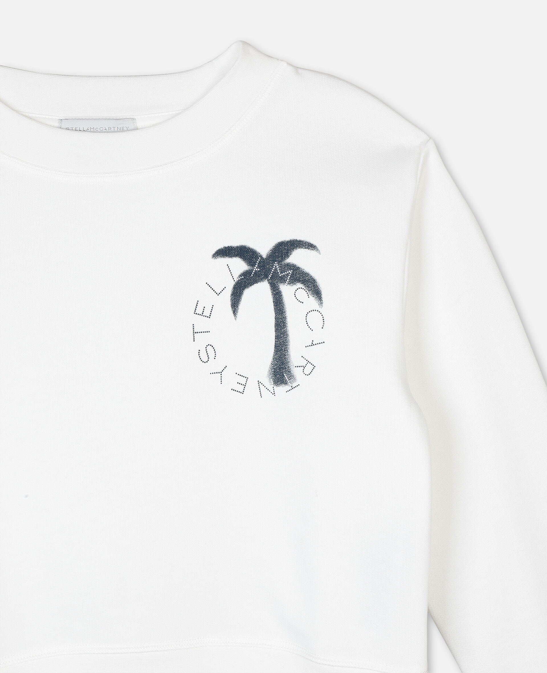 Felpa in Cotone con Logo Palma -Bianco-large image number 1