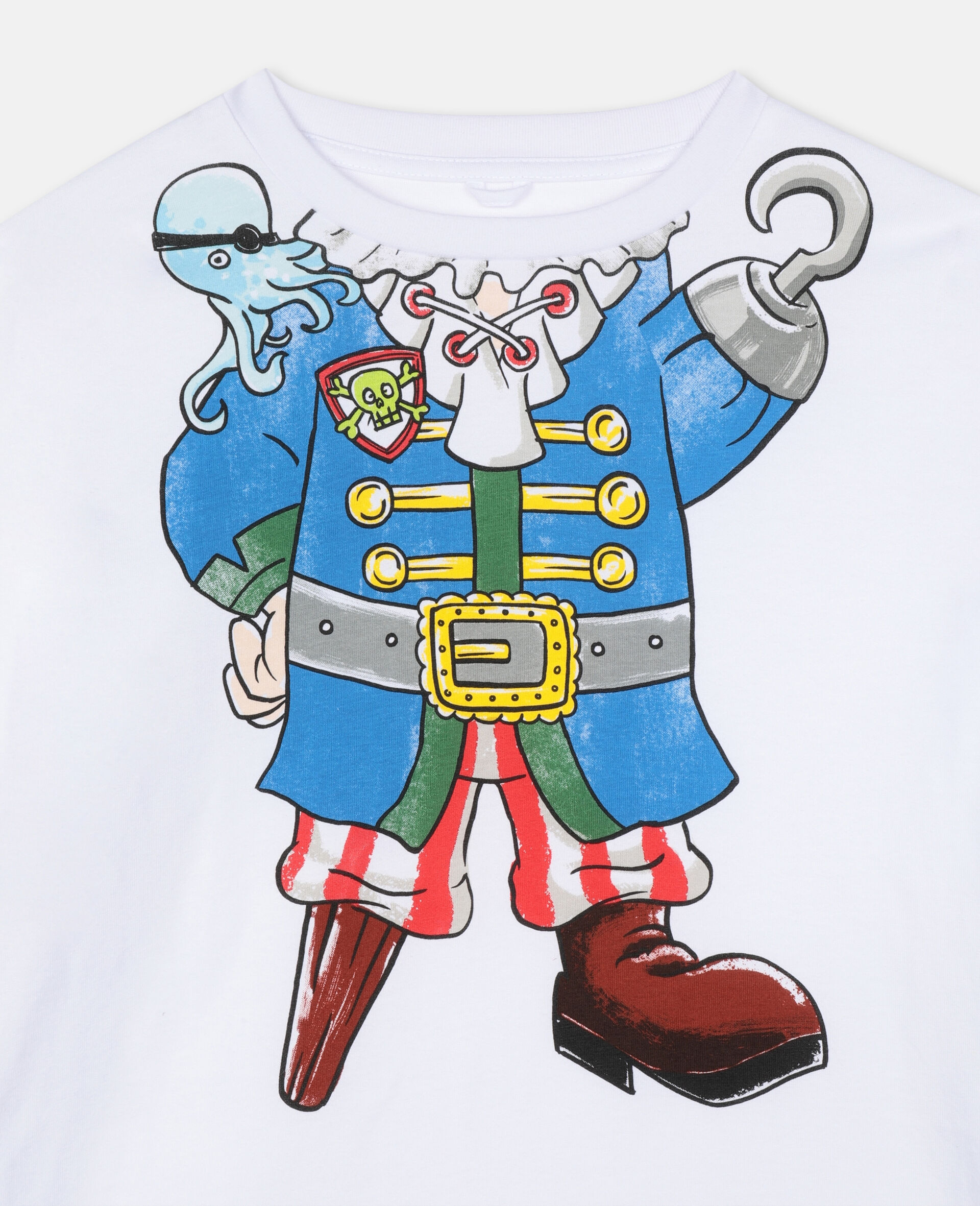Trompe-L'Oeil Pirate Cotton T-shirt -White-large image number 1