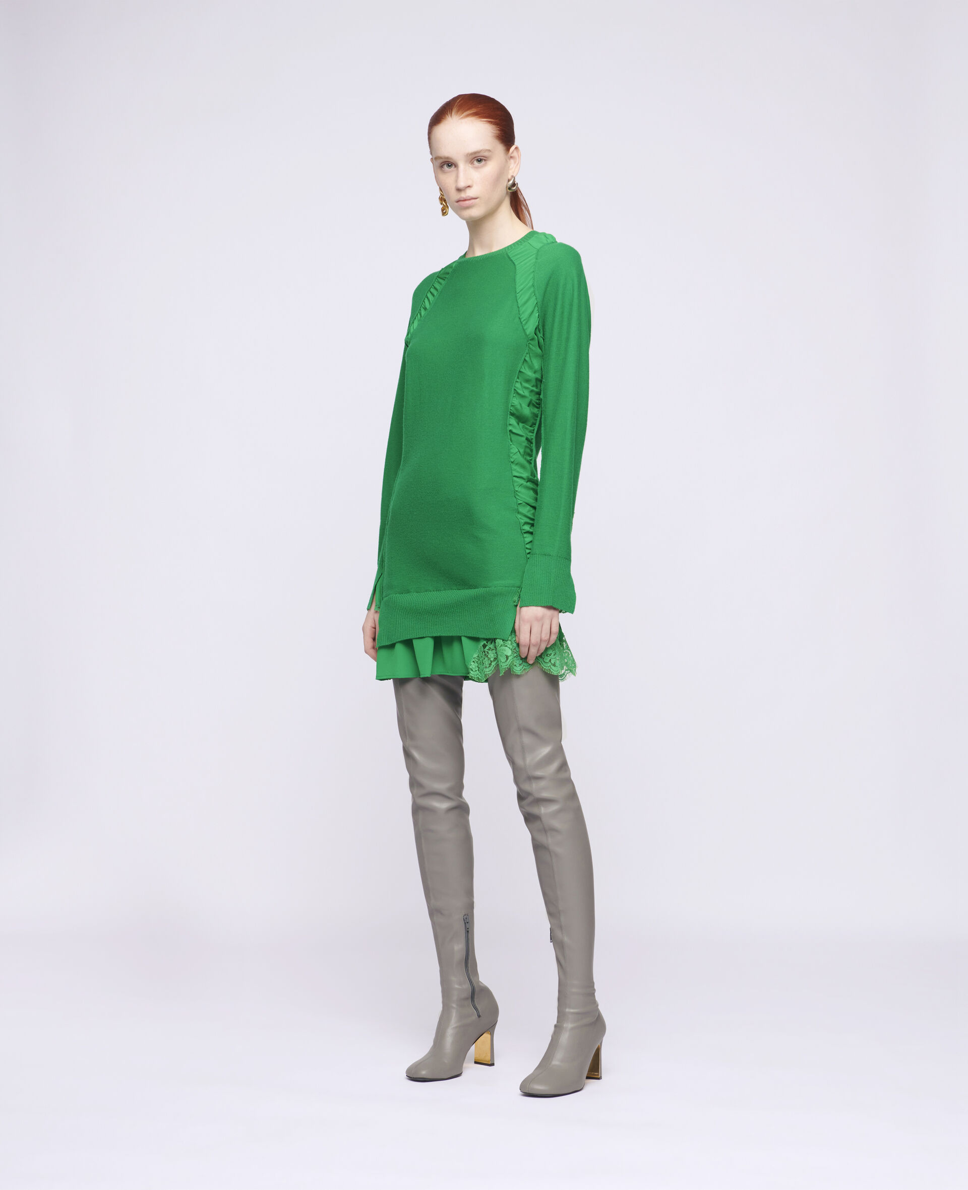 Silk Knit Mini Dress-Green-large image number 1