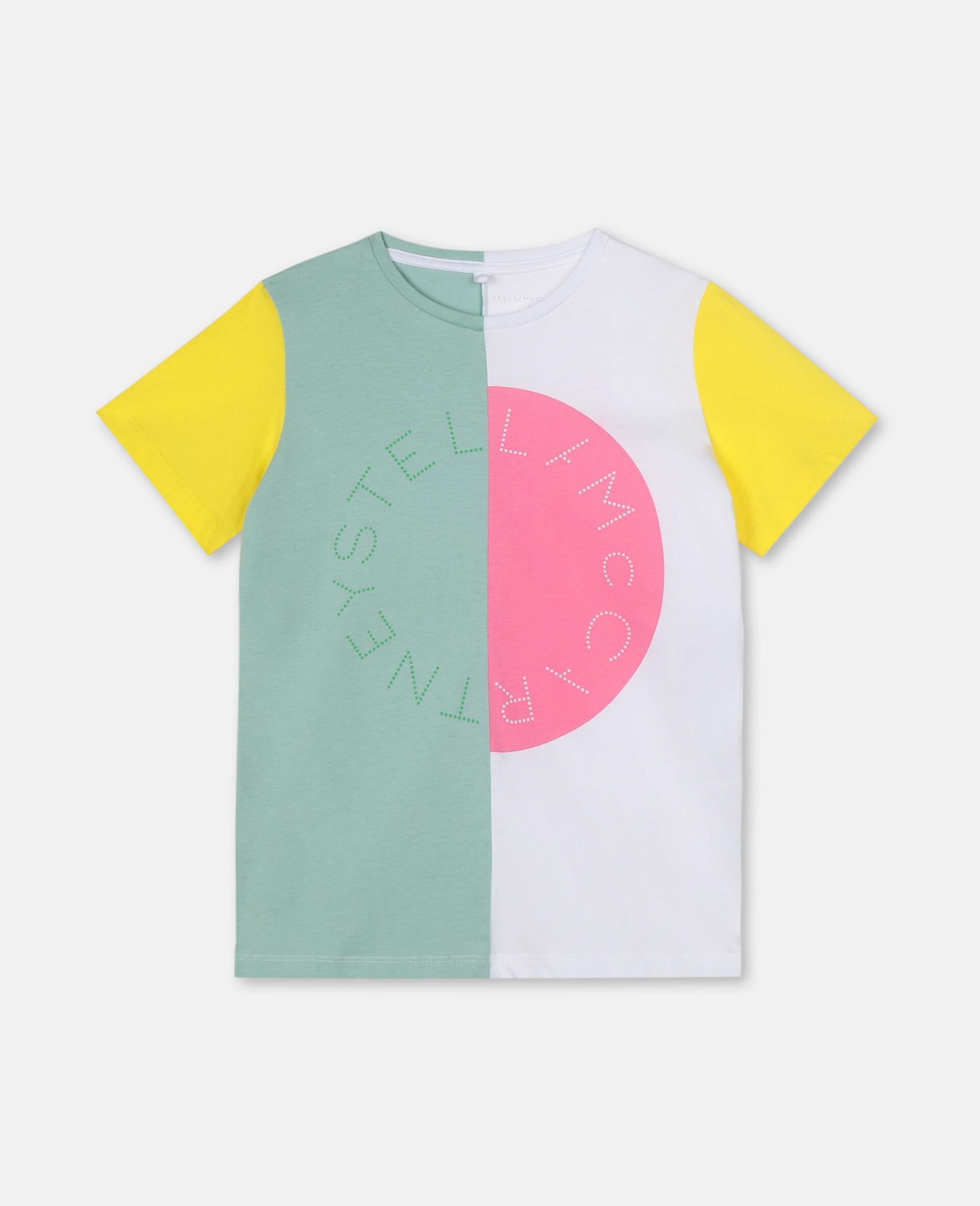 Baumwoll-T-Shirt mit Colourblock-Design und Logo-Grün-large image number 0