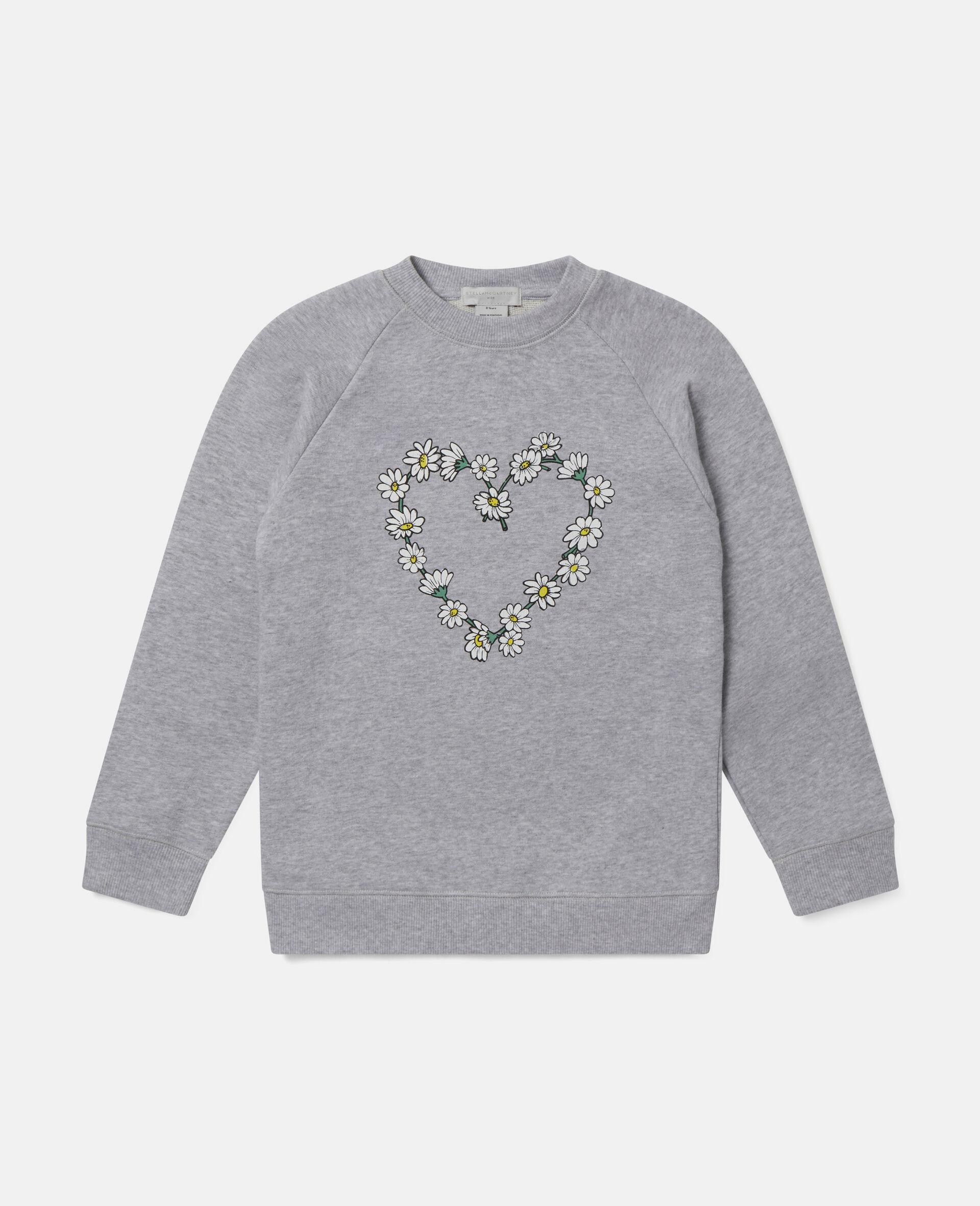 Sweat-shirt en polaire de coton motif cœur en marguerites -Gris-large image number 0