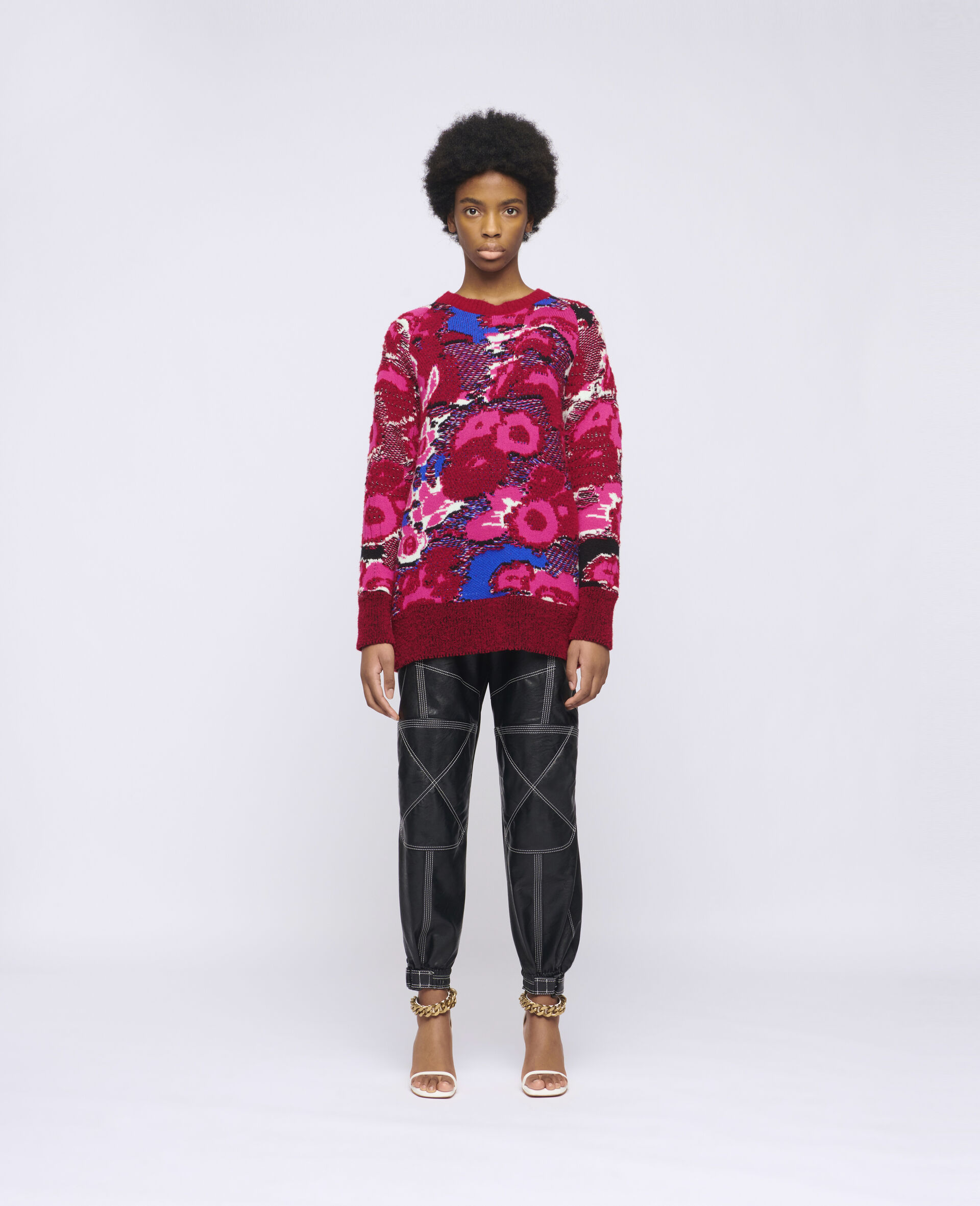 Floral Jacquard Sweater-Multicoloured-large image number 1