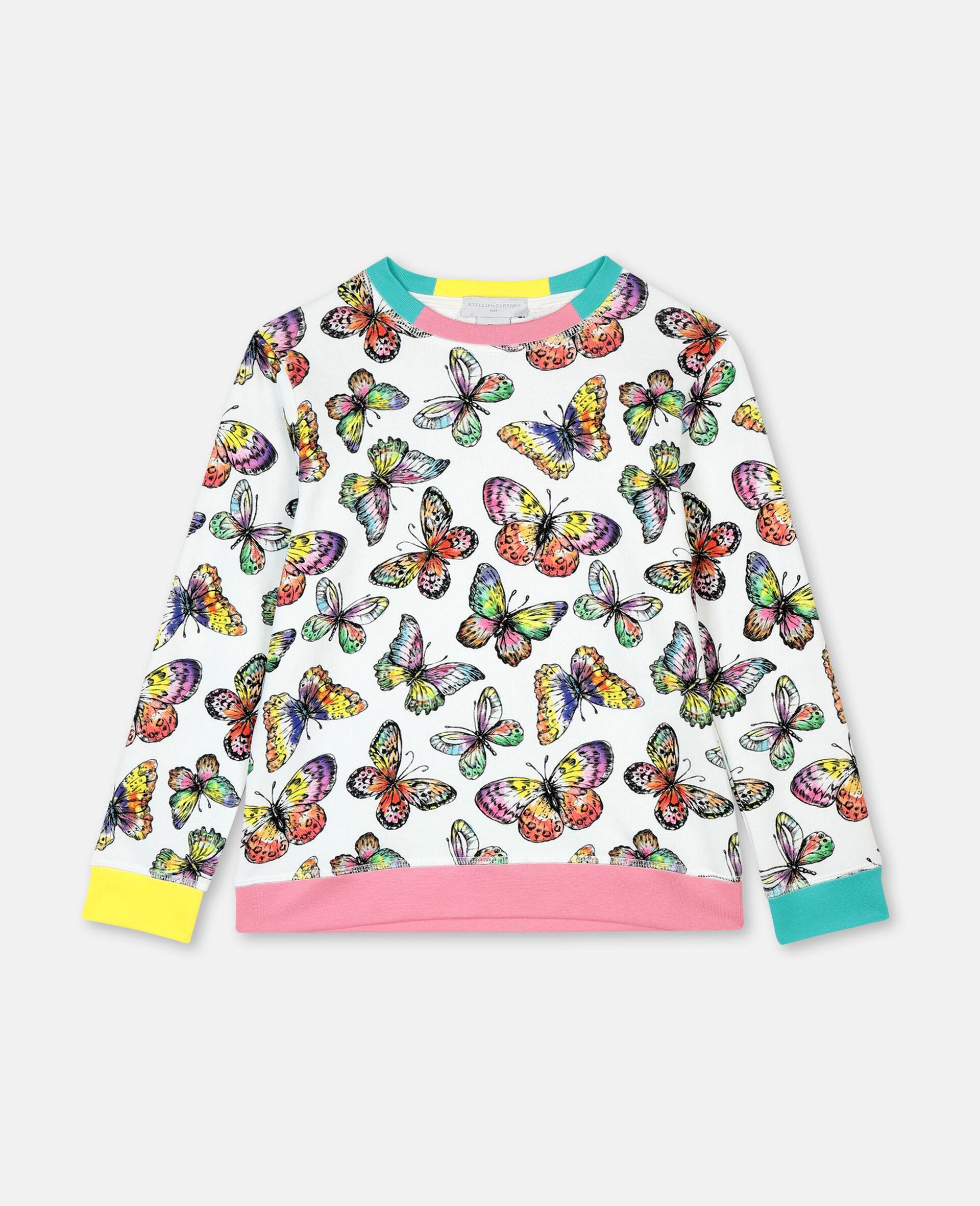 Baumwollsweatshirt mit Schmetterling-Print-Bunt-large image number 0