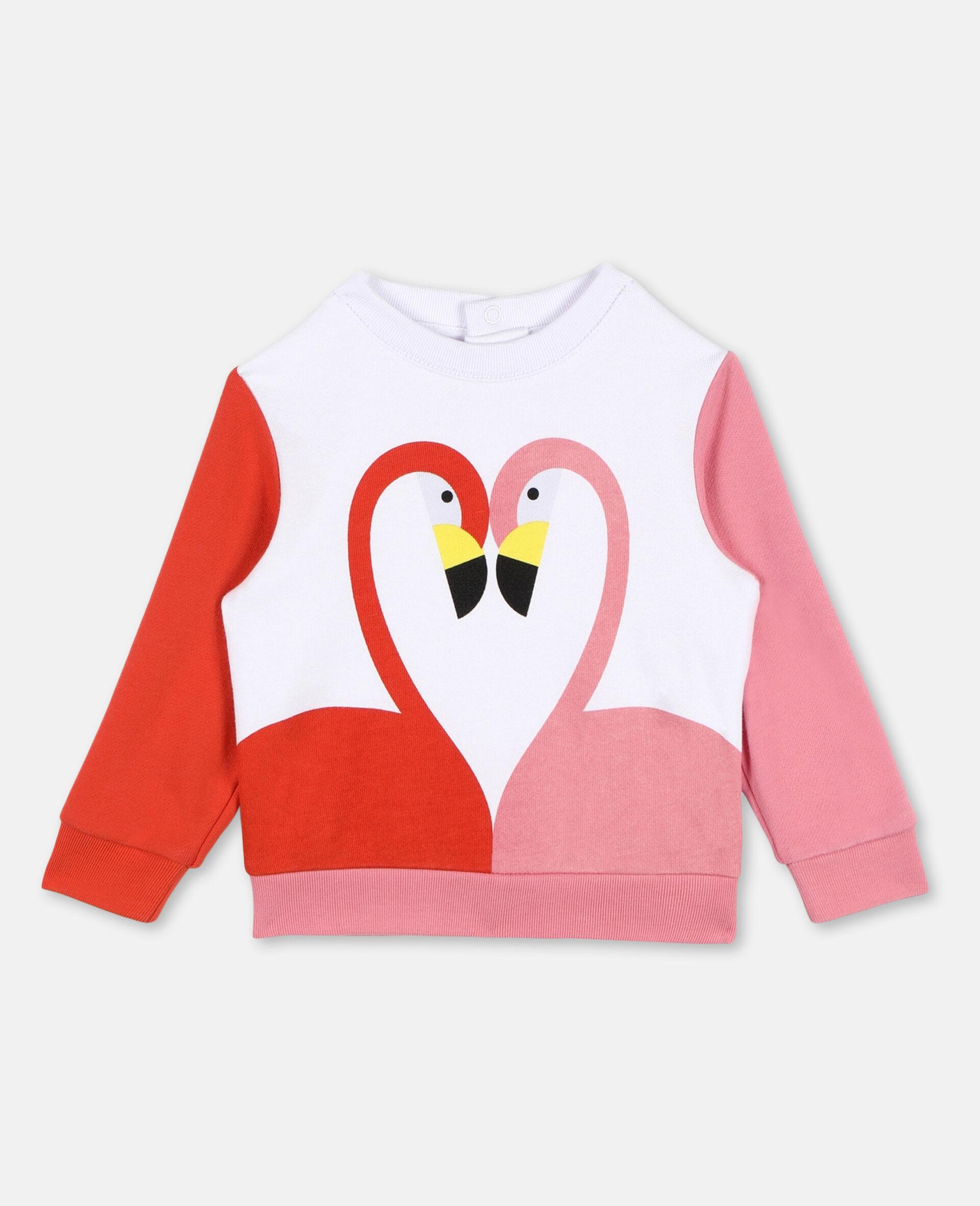 Flamingo Cotton Sweatshirt -White-large image number 0