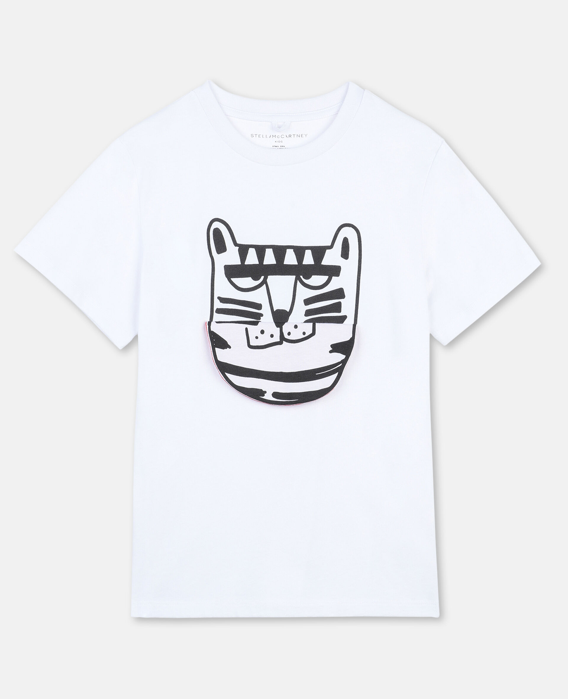T-Shirt in Cotone Funny Tiger -Bianco-large image number 0
