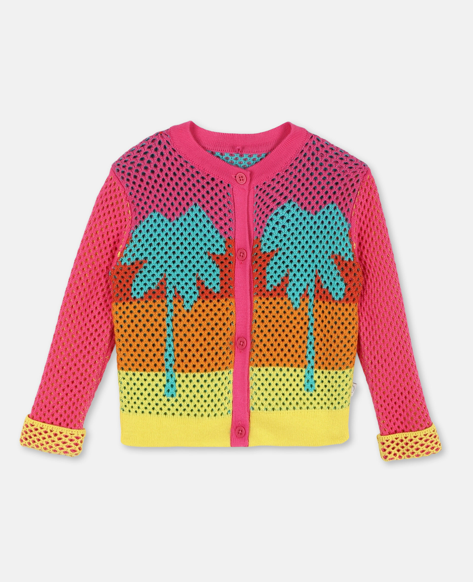 Intarsia Mesh Knit Cotton Cardigan-Multicolour-large