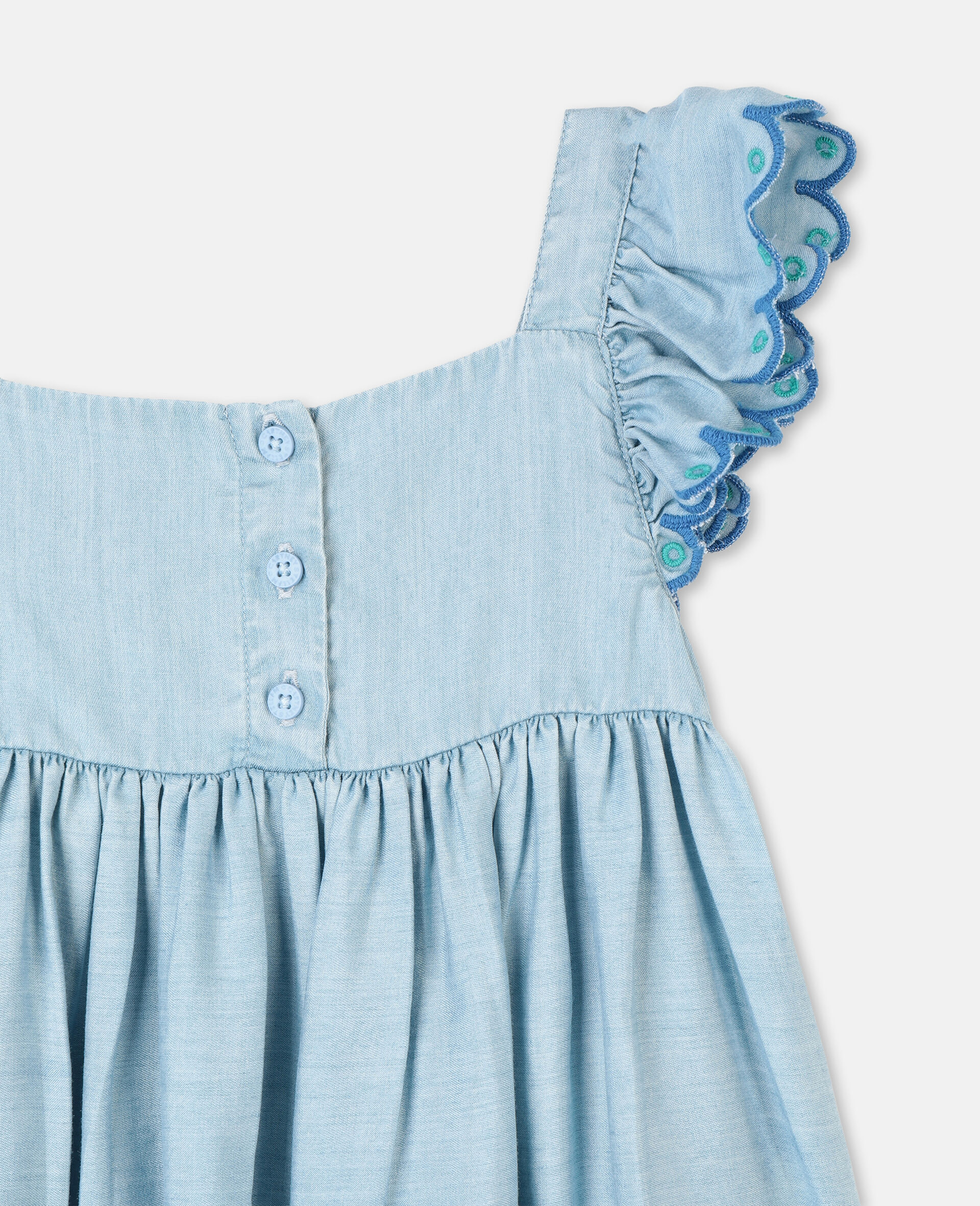 Scalloped Denim Dress-Blue-large image number 2