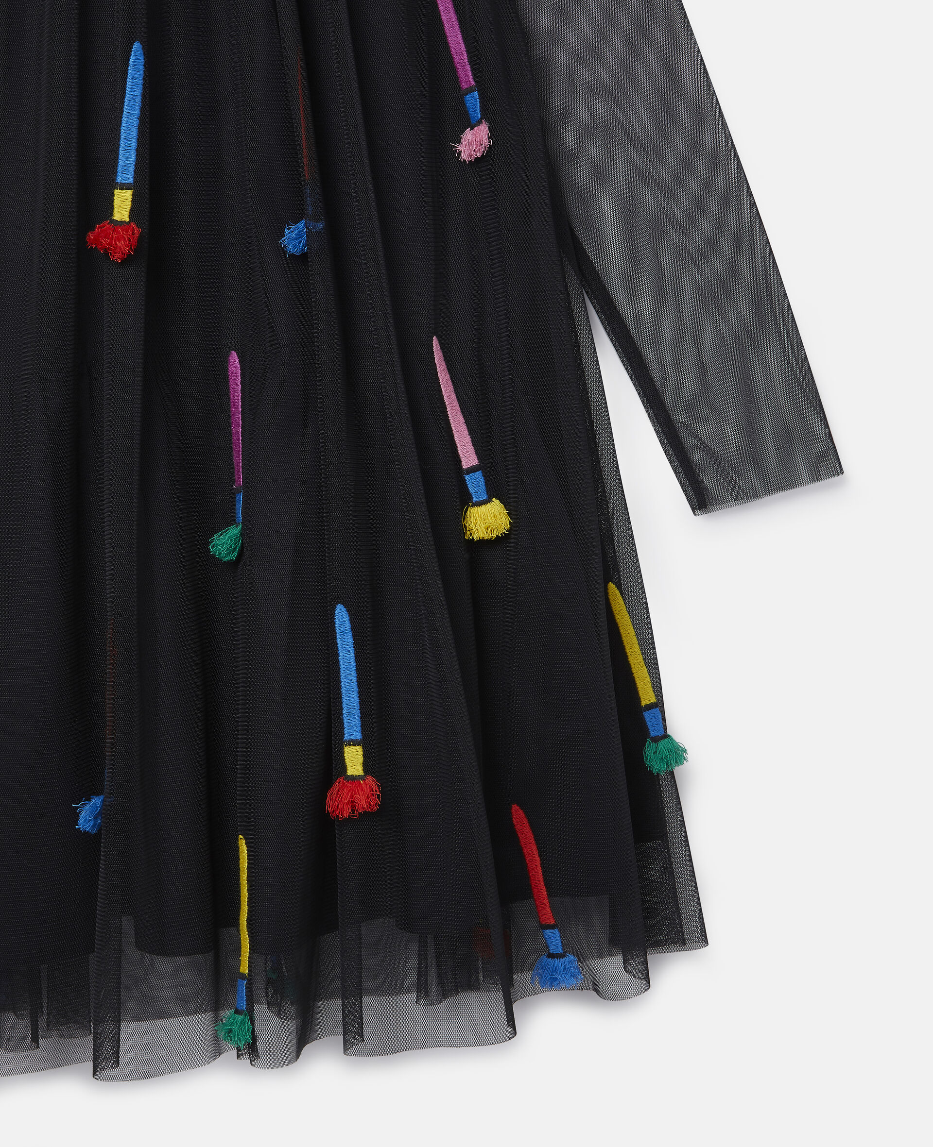 Embroidered Paintbrushes Tulle Dress-Black-large image number 1