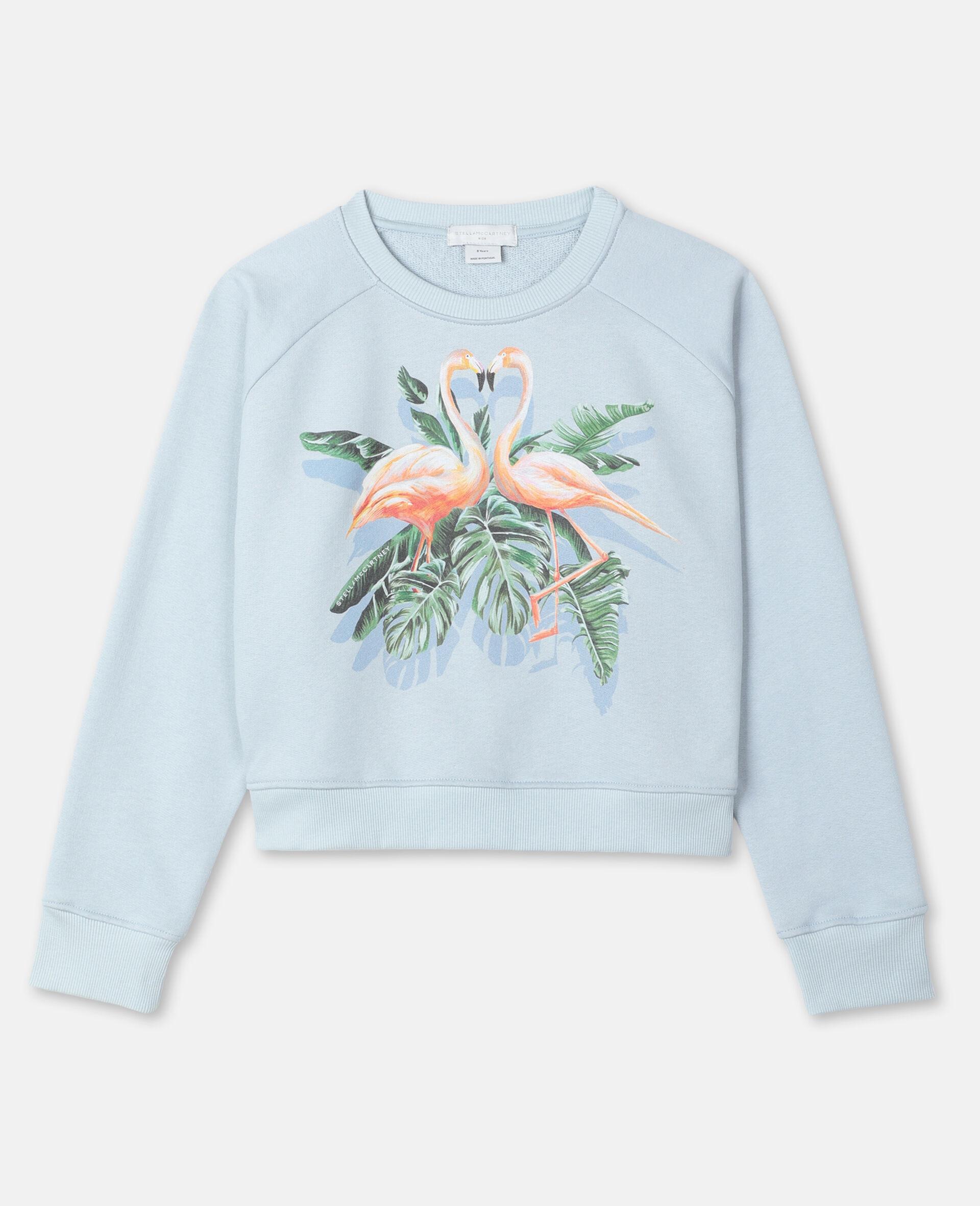 Baumwollfleece-Sweatshirt mit malerischem Flamingo-Print -Blau-large image number 0