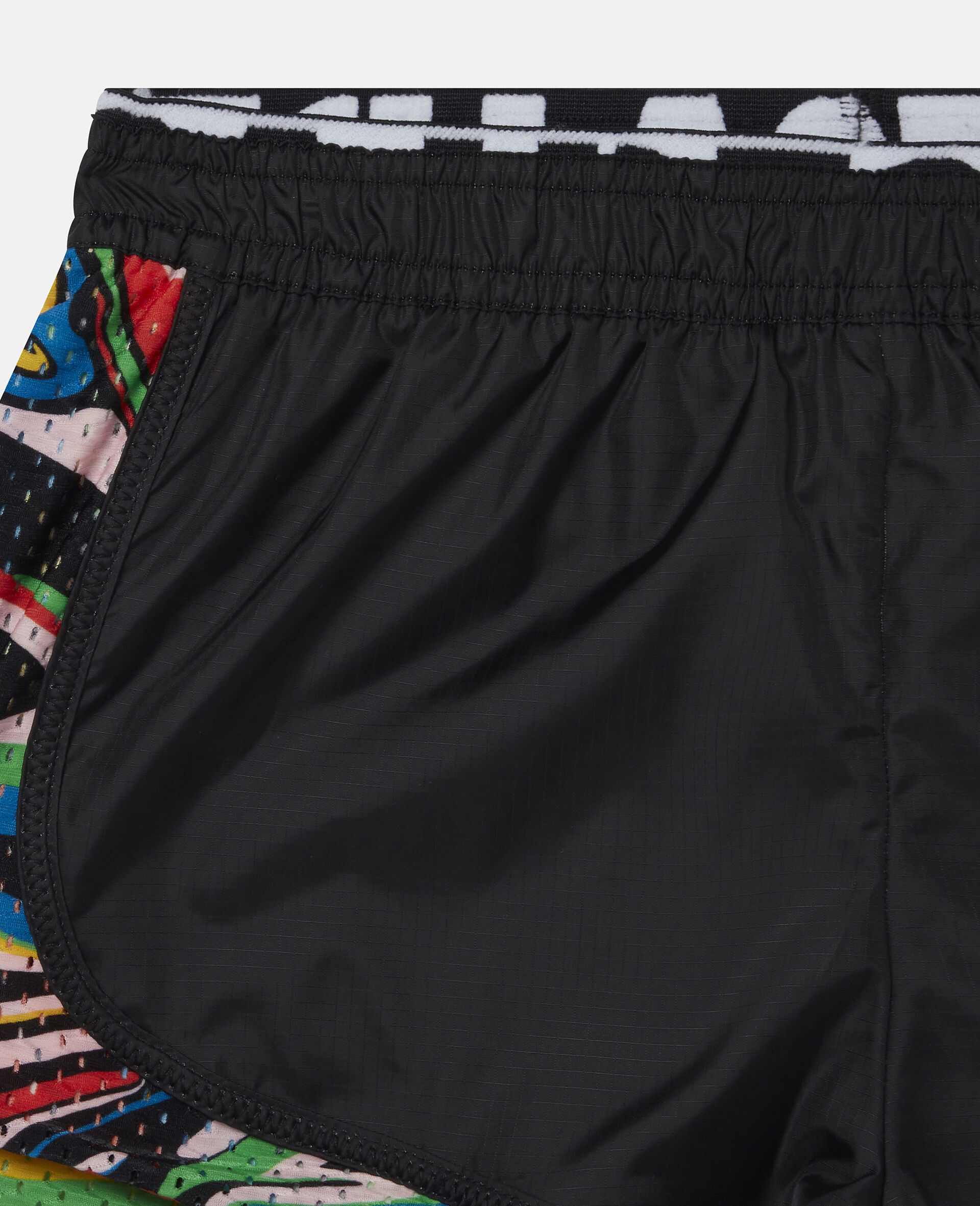 大理石纹印花运动短裤 -黑色-large image number 1