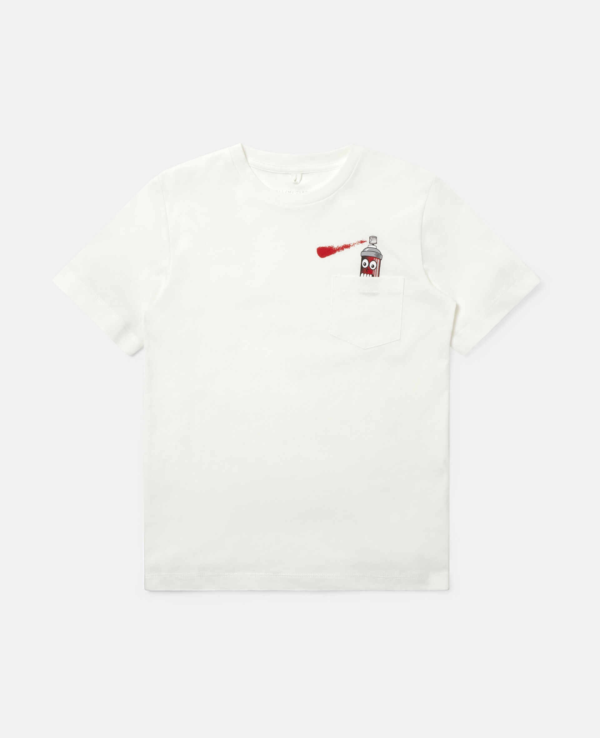 """T-Shirt aus Baumwolle mit """"Spray Can""""-Print-Weiß-large image number 0"""