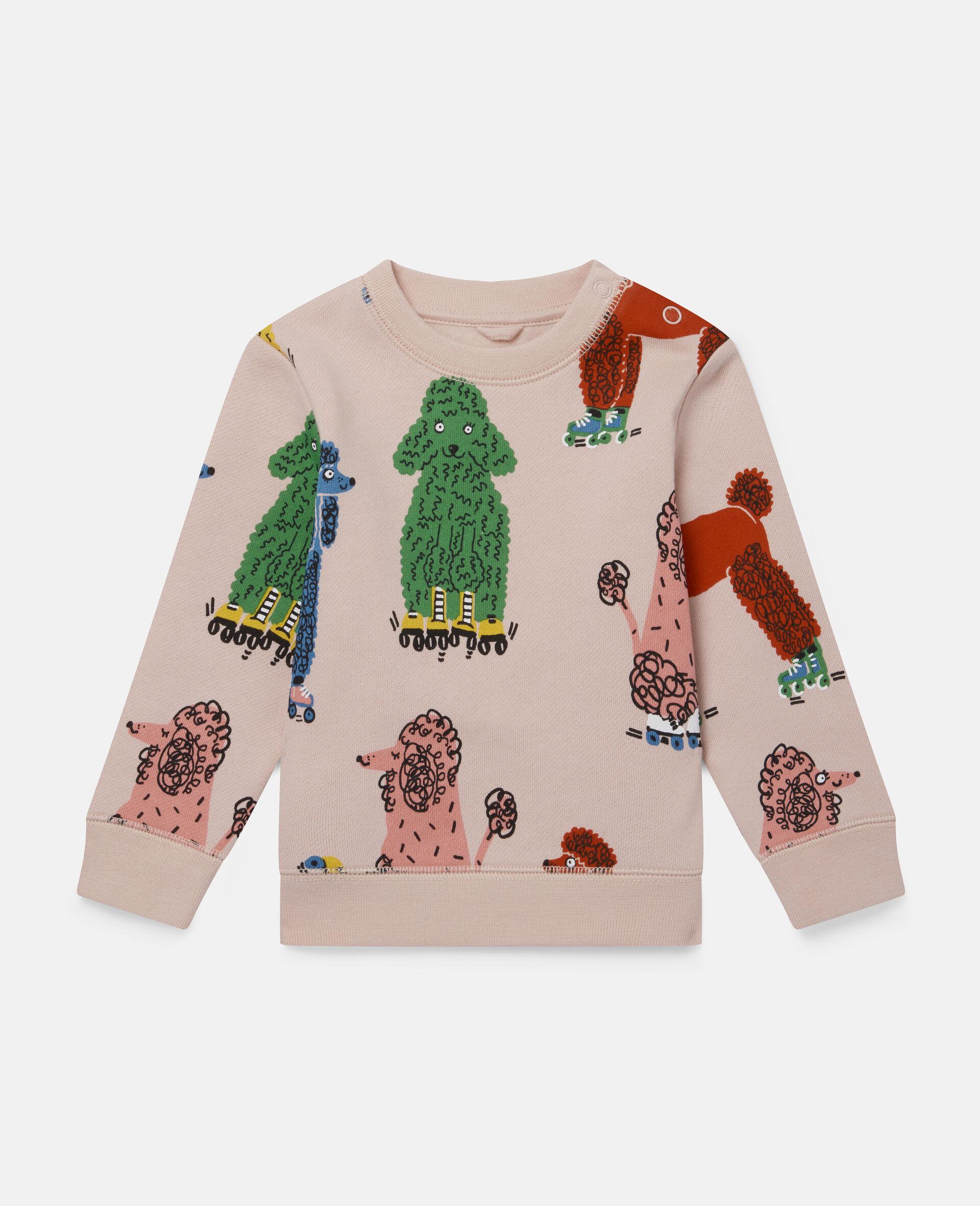 Sweatshirt aus Fleece mit Pudel-Print-Rose-large image number 0