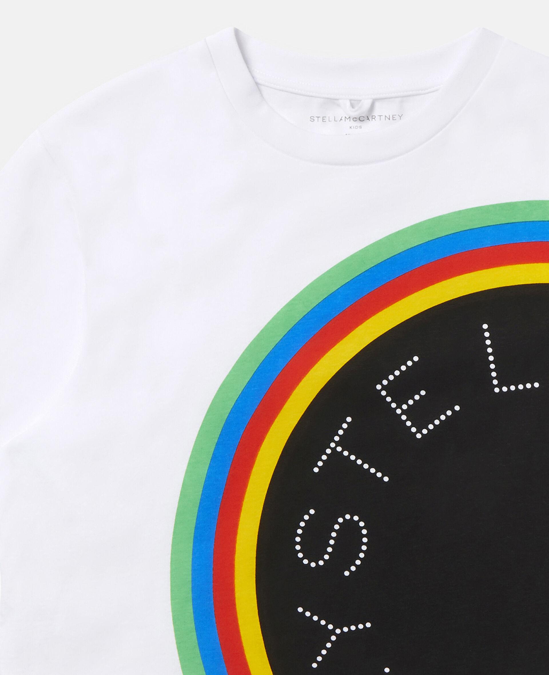 Stripy Logo Oversize Sports T-shirt -White-large image number 2
