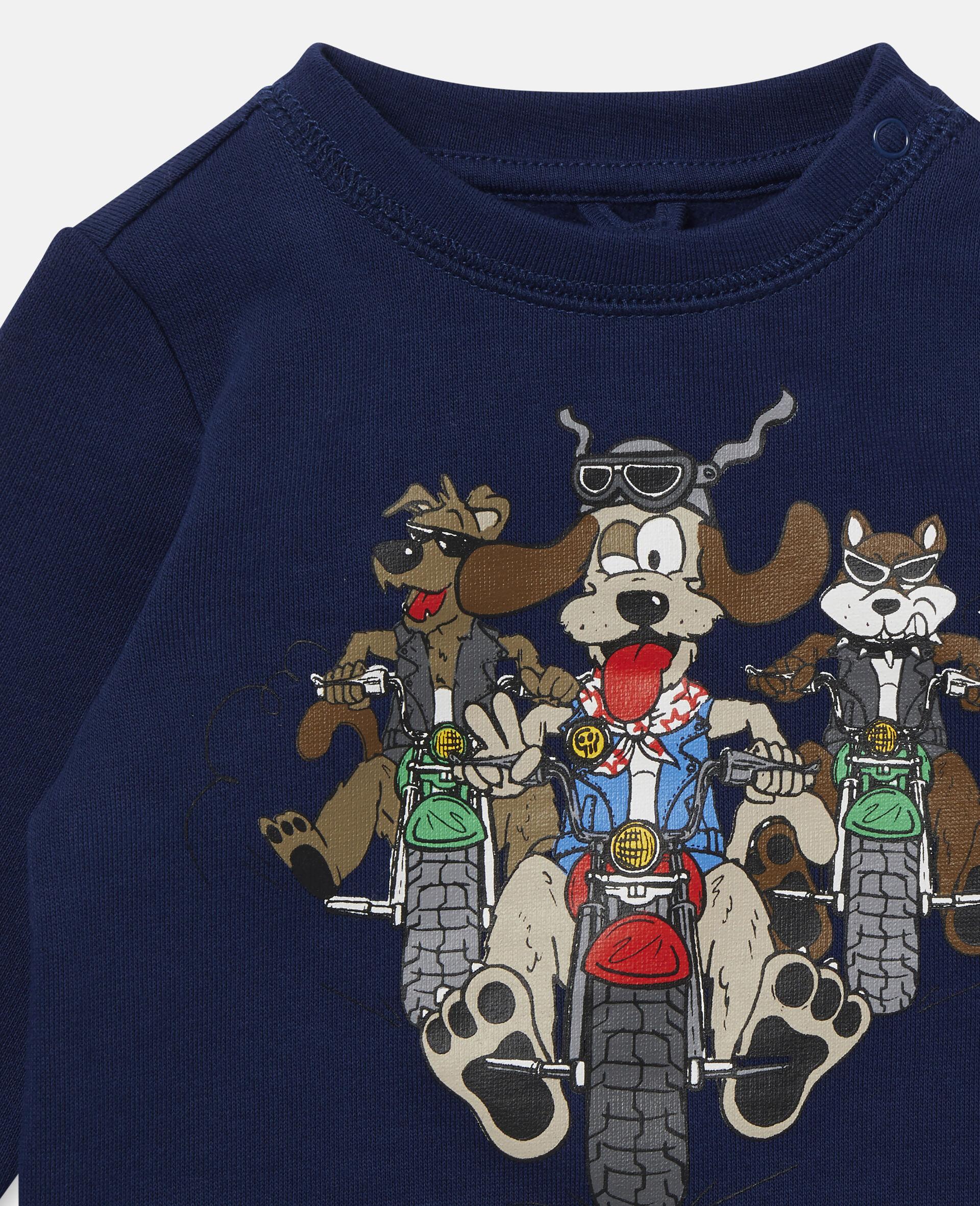 Sweat-shirt en polaire imprimé chiens motards-Bleu-large image number 1