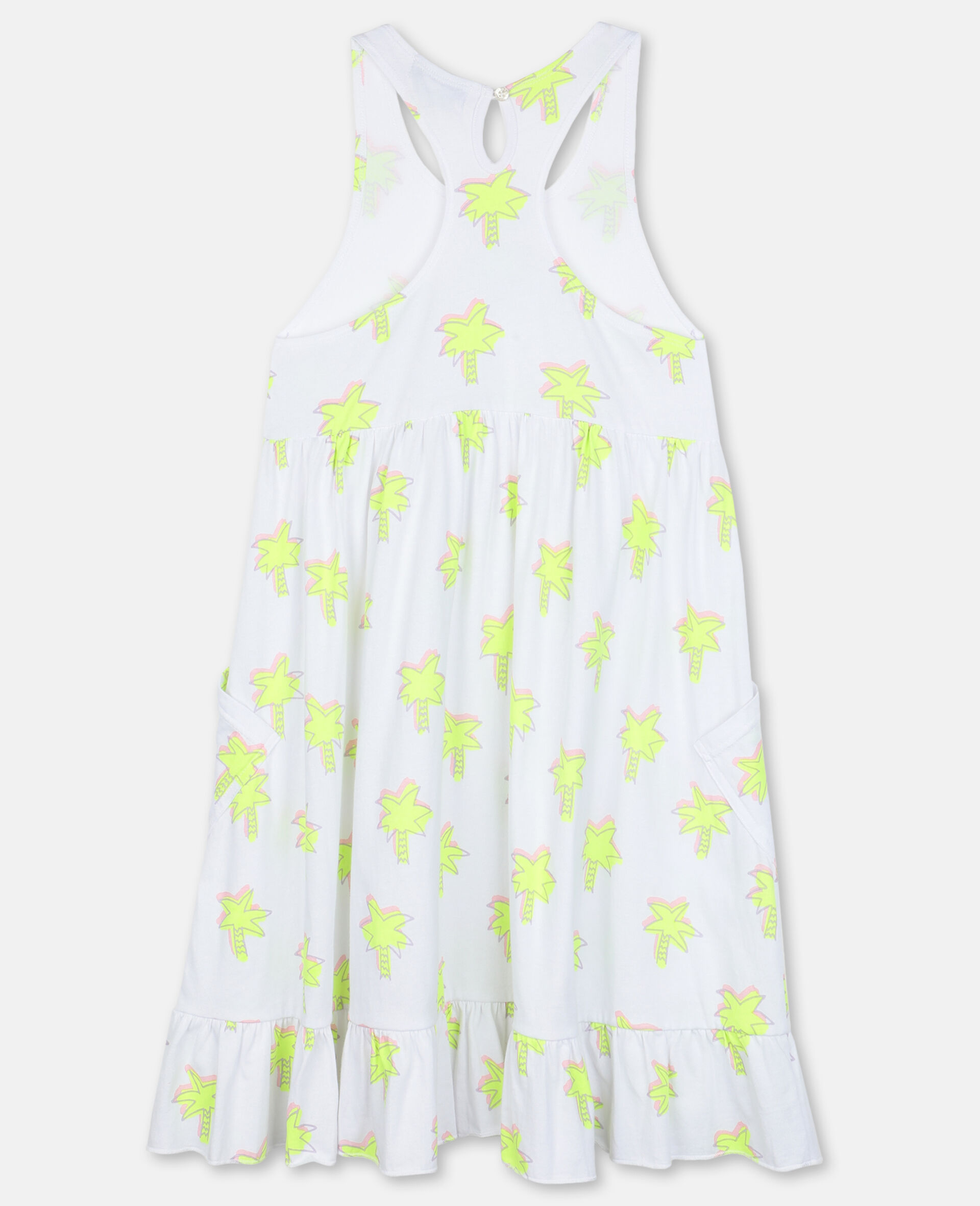 Doodle Palm Cotton Dress-White-large image number 3