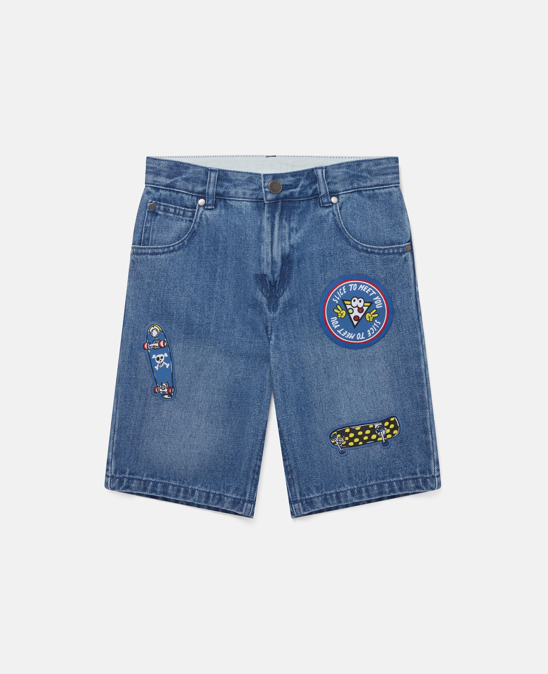 滑板徽章牛仔短裤-蓝色-large image number 0