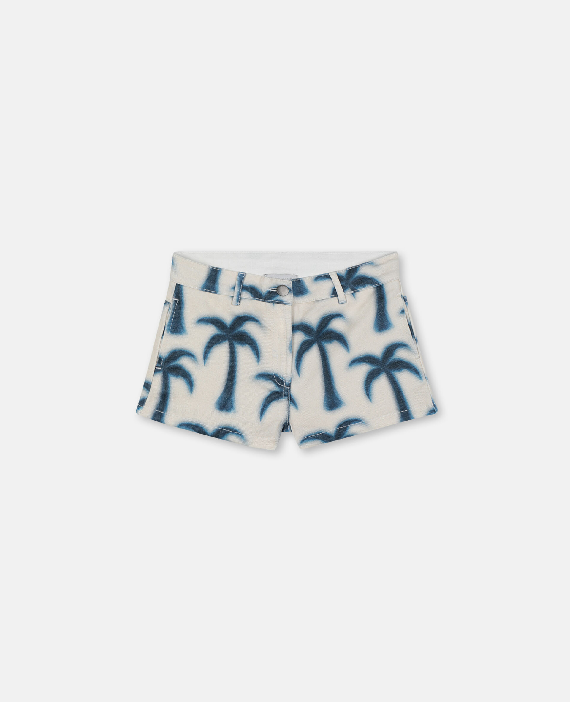 Palm Denim Shorts-Blue-large image number 0
