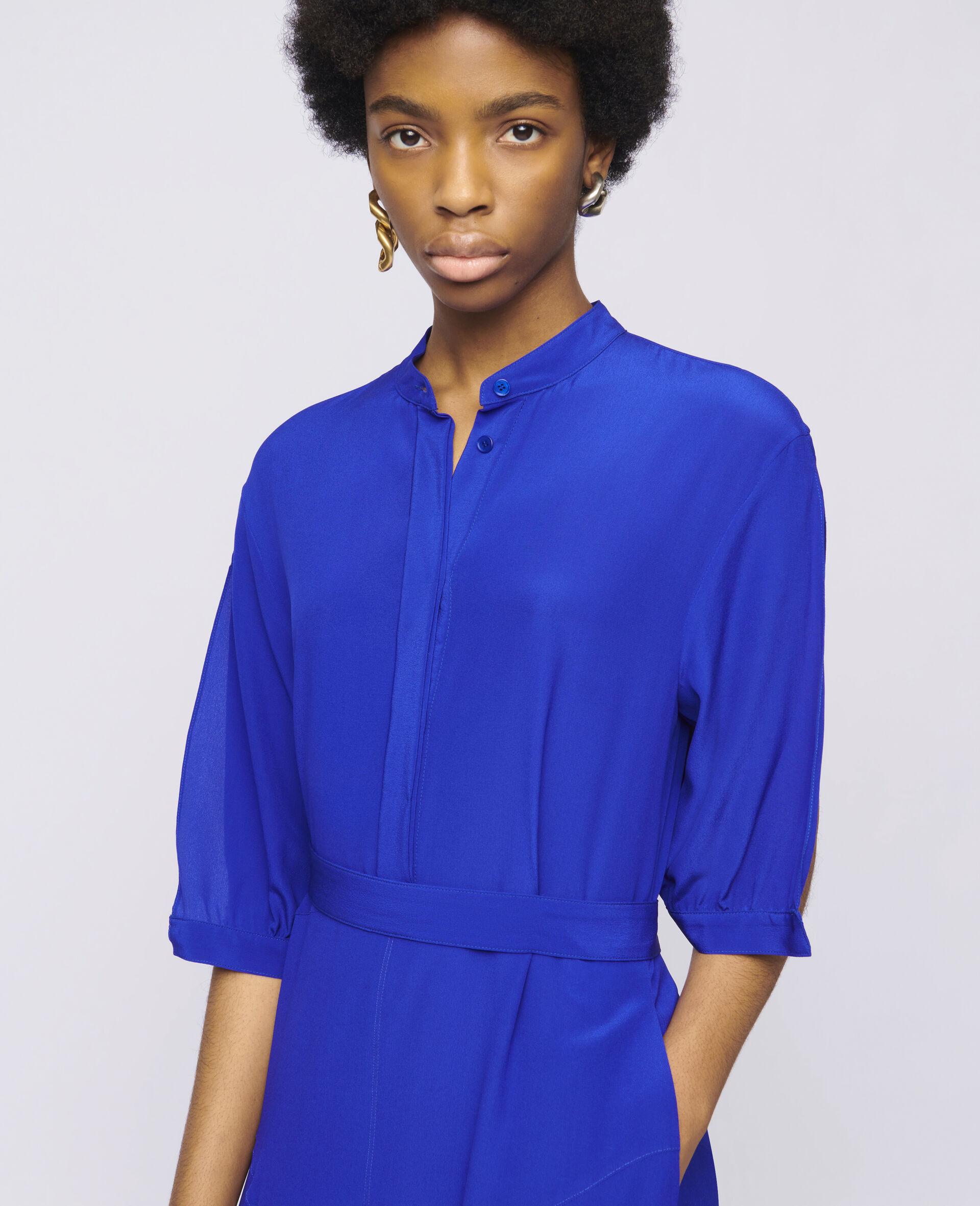 Olivia Silk Dress-Blue-large image number 3