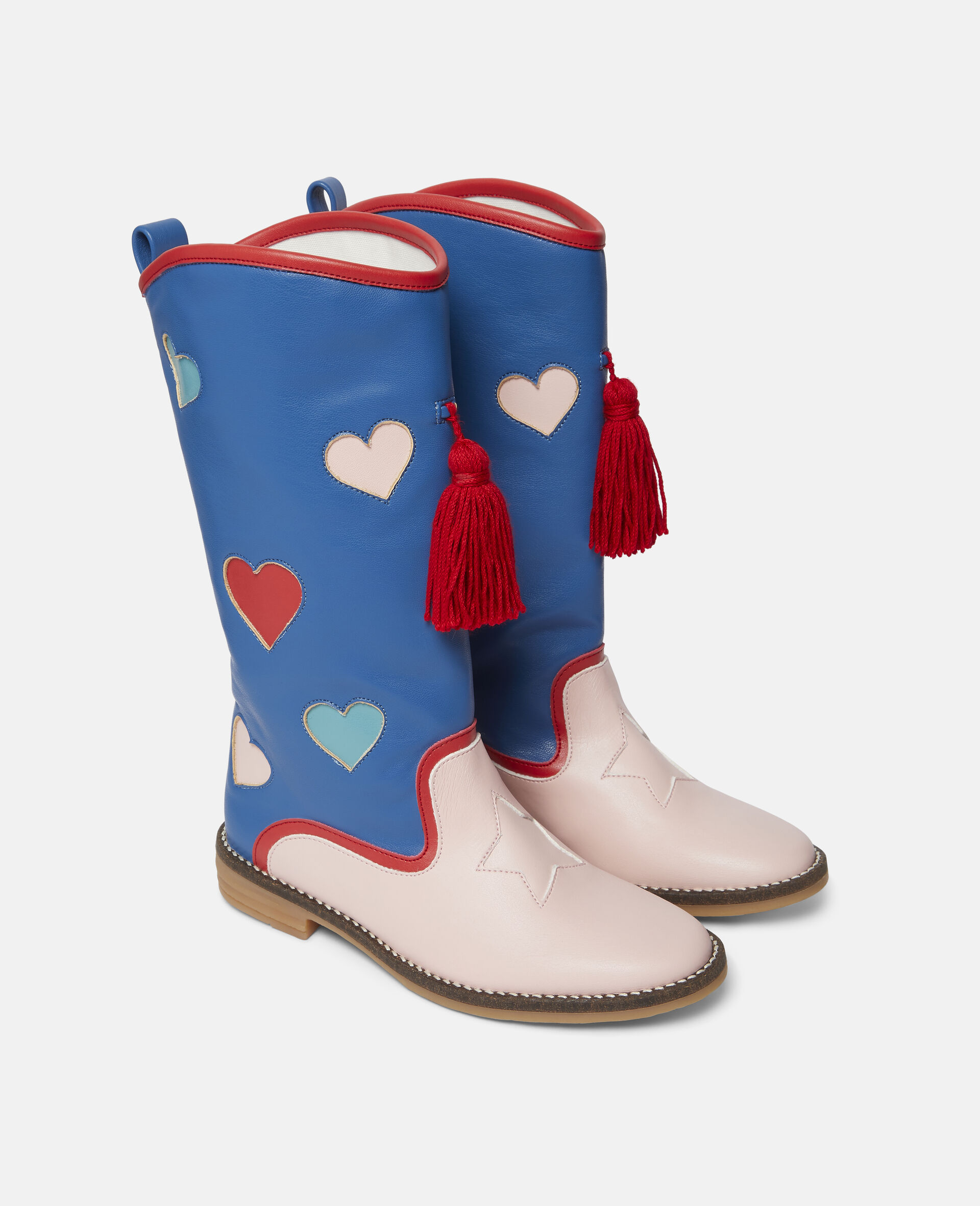Hearts Tassels Boots-Blue-large image number 3