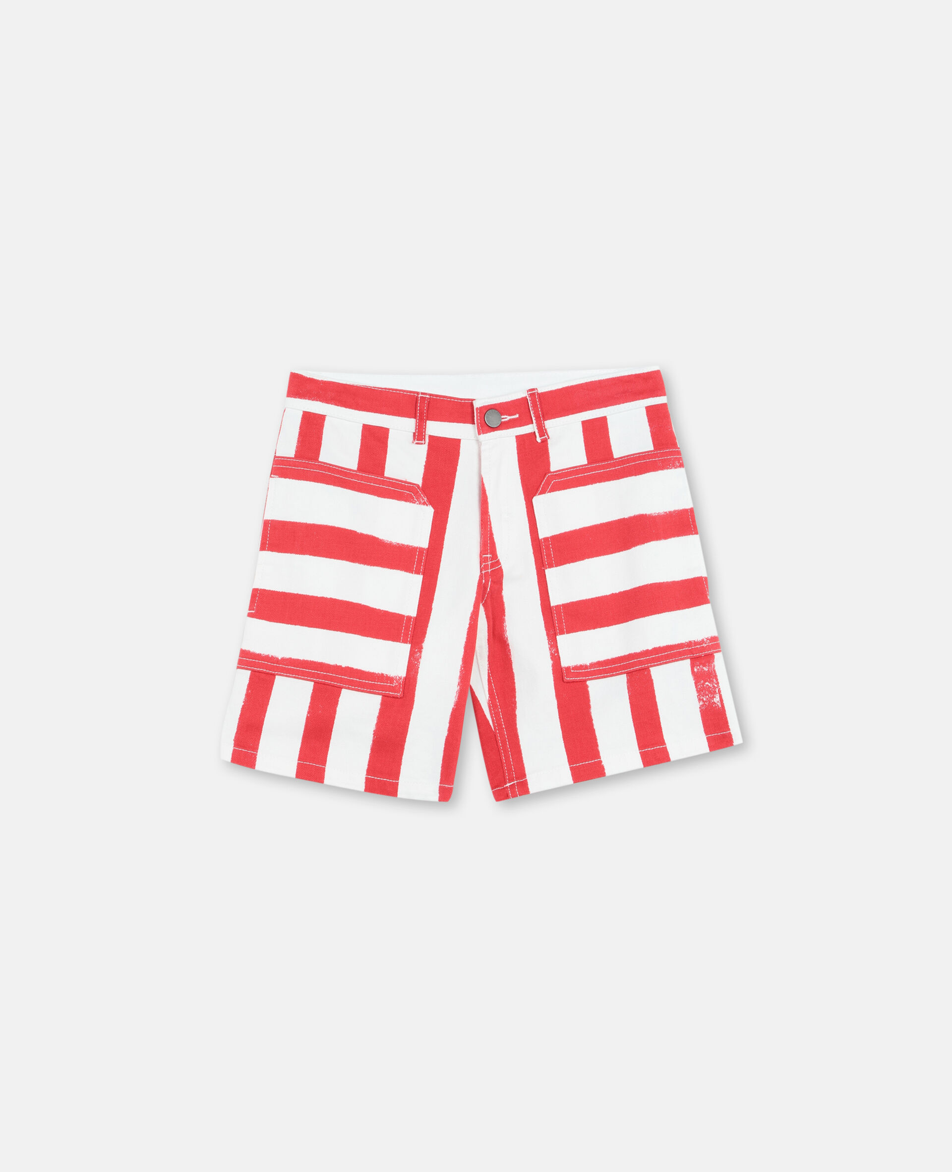 Striped Denim Shorts -Multicolour-large image number 0