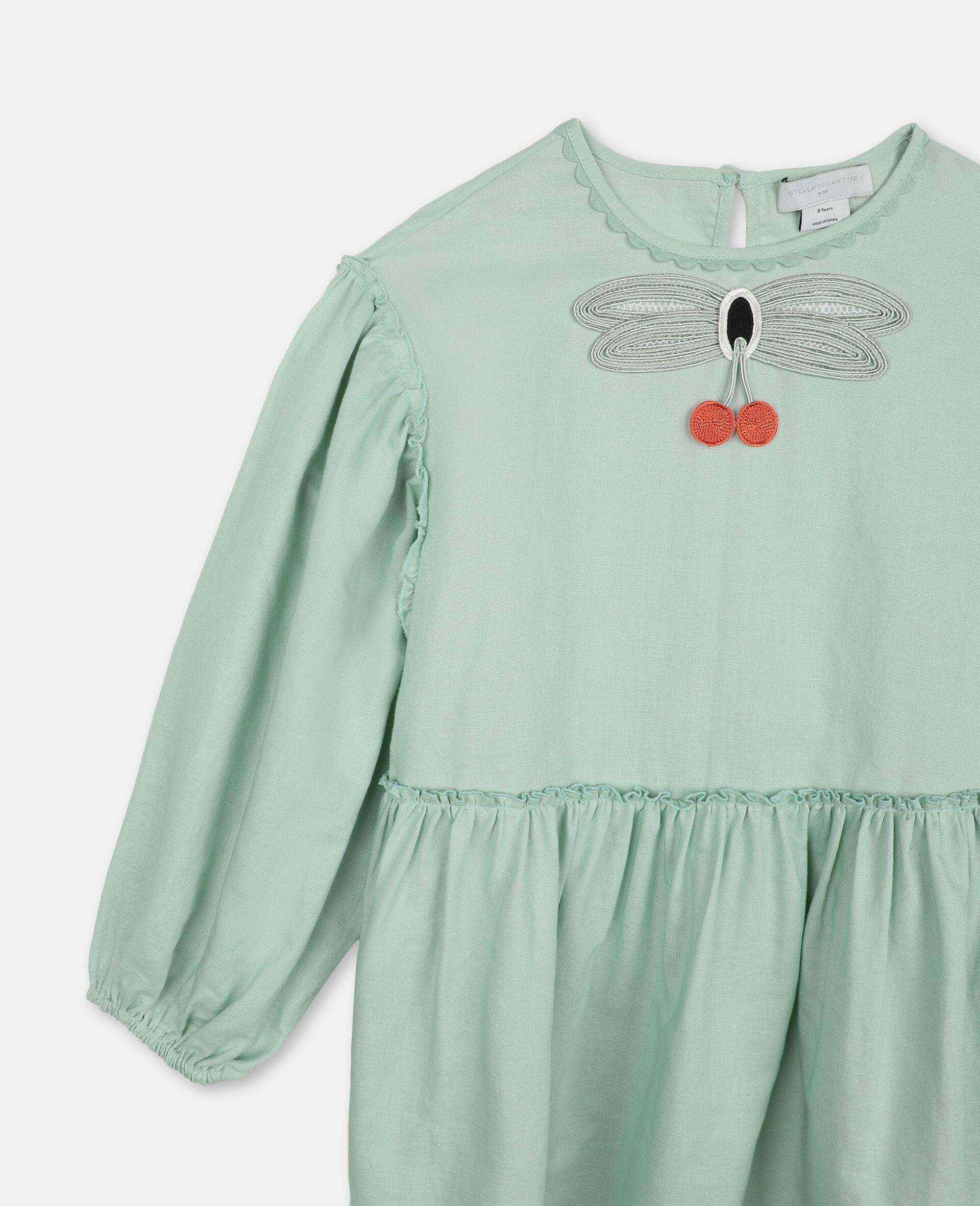Robe avec papillon en dentelle-Vert-large image number 1